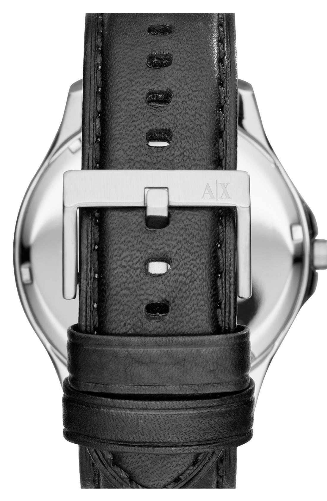 Alternate Image 2  - AX Armani Exchange Round Leather Strap Watch, 45mm