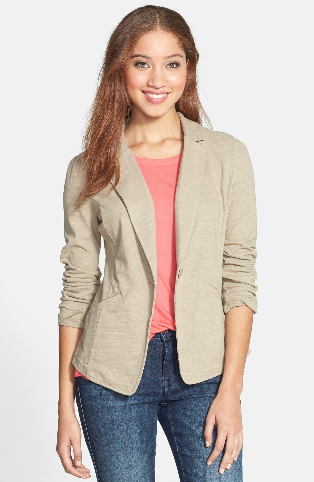 Main Image - Caslon® Knit One-Button Blazer (Petite)