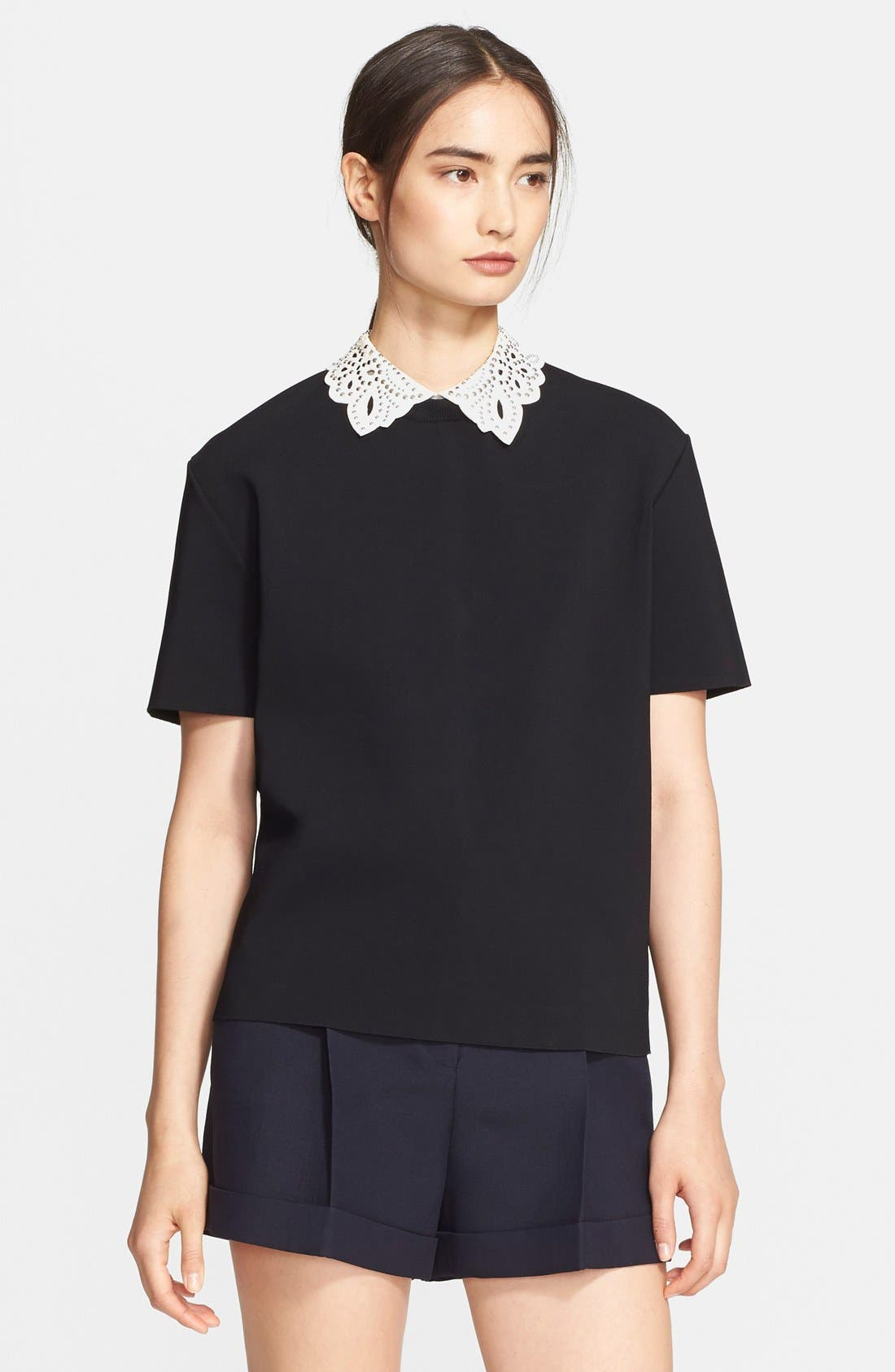 Alternate Image 1 Selected - Valentino Leather Collar Top