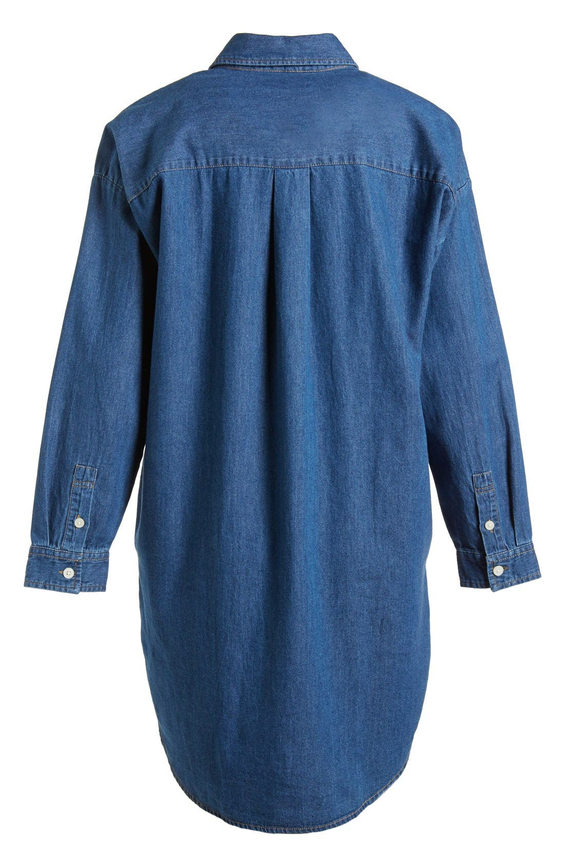 Alternate Image 5  - :CHOCOOLATE Two Pocket Denim Shirtdress (Women)