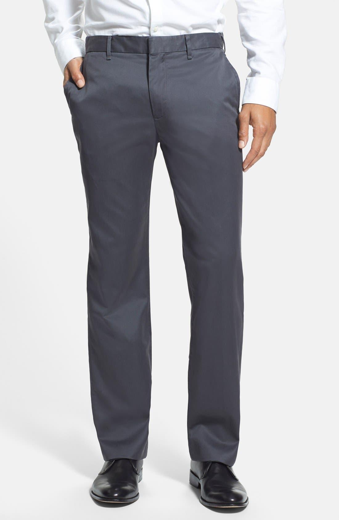 'Weekday Warriors' Non-Iron Straight Leg Cotton Pants,                         Main,                         color, Friday Greys
