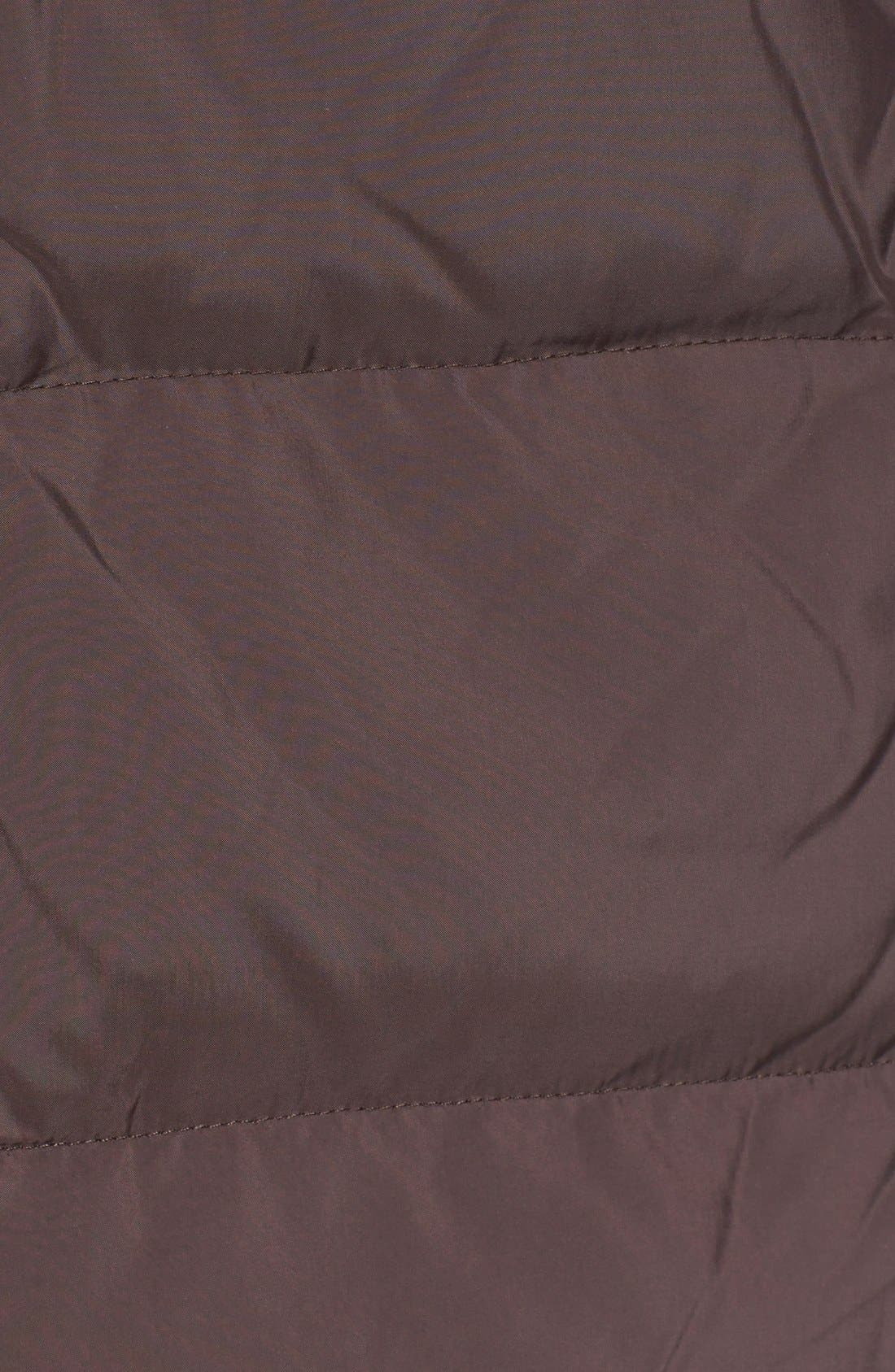 Genuine Fox Fur Trim Hooded Down Walking Coat,                             Alternate thumbnail 3, color,                             Mahogany