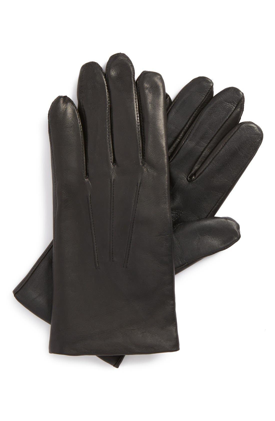 Leather Tech Gloves,                             Main thumbnail 1, color,                             Black