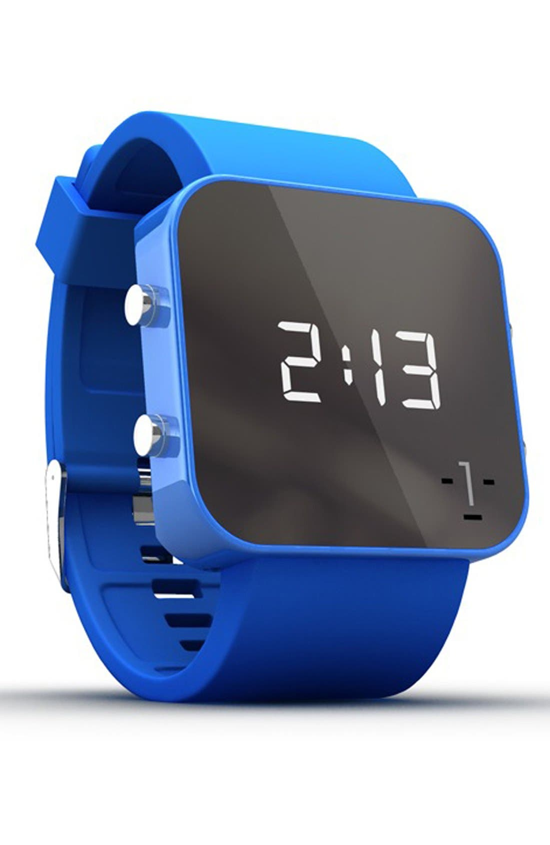 Alternate Image 2  - 1:Face 'Environment' Square Digital Silicone Strap Watch, 38mm