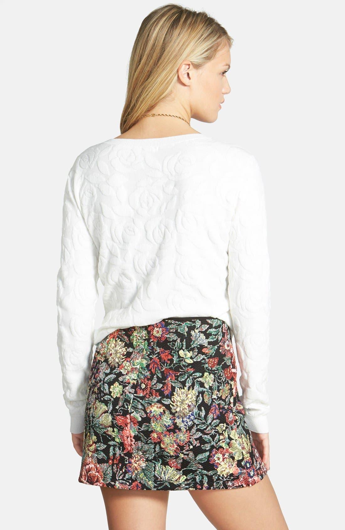 Alternate Image 2  - Lush Print Textured A-Line Skirt (Juniors)