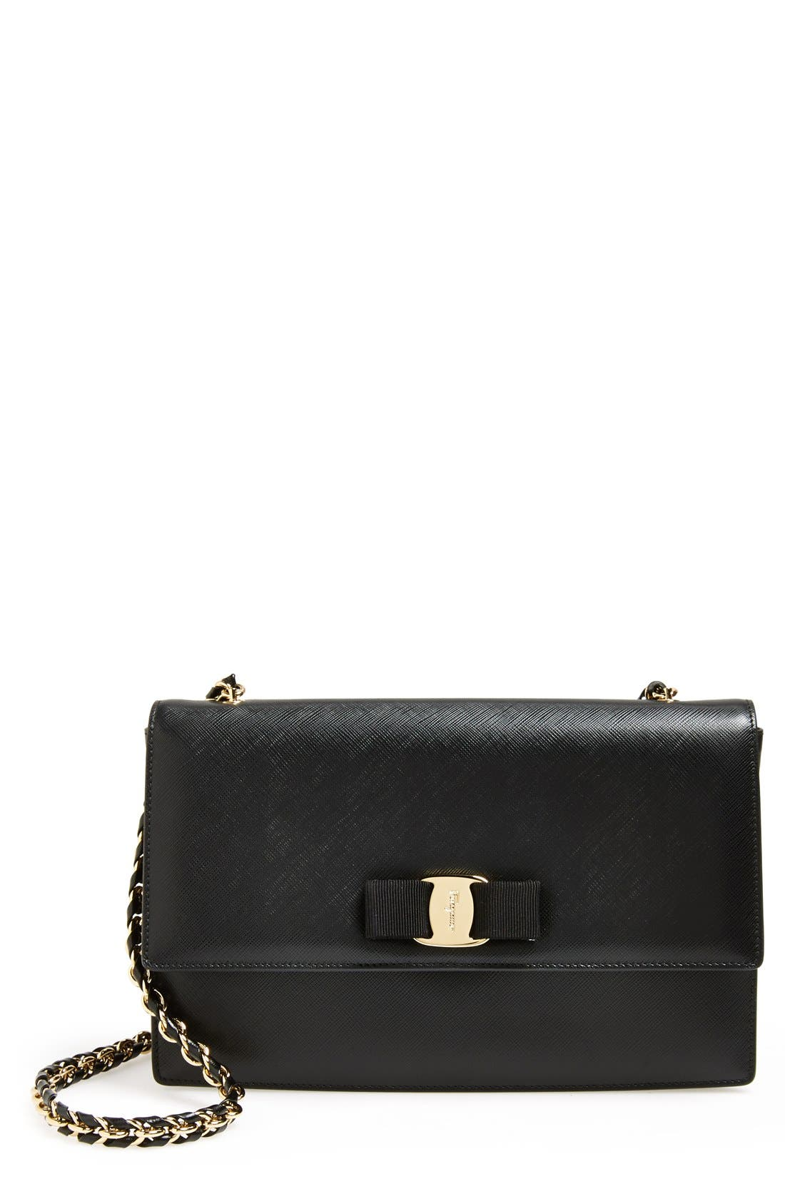 Saffiano Leather Shoulder Bag,                             Main thumbnail 1, color,                             Nero