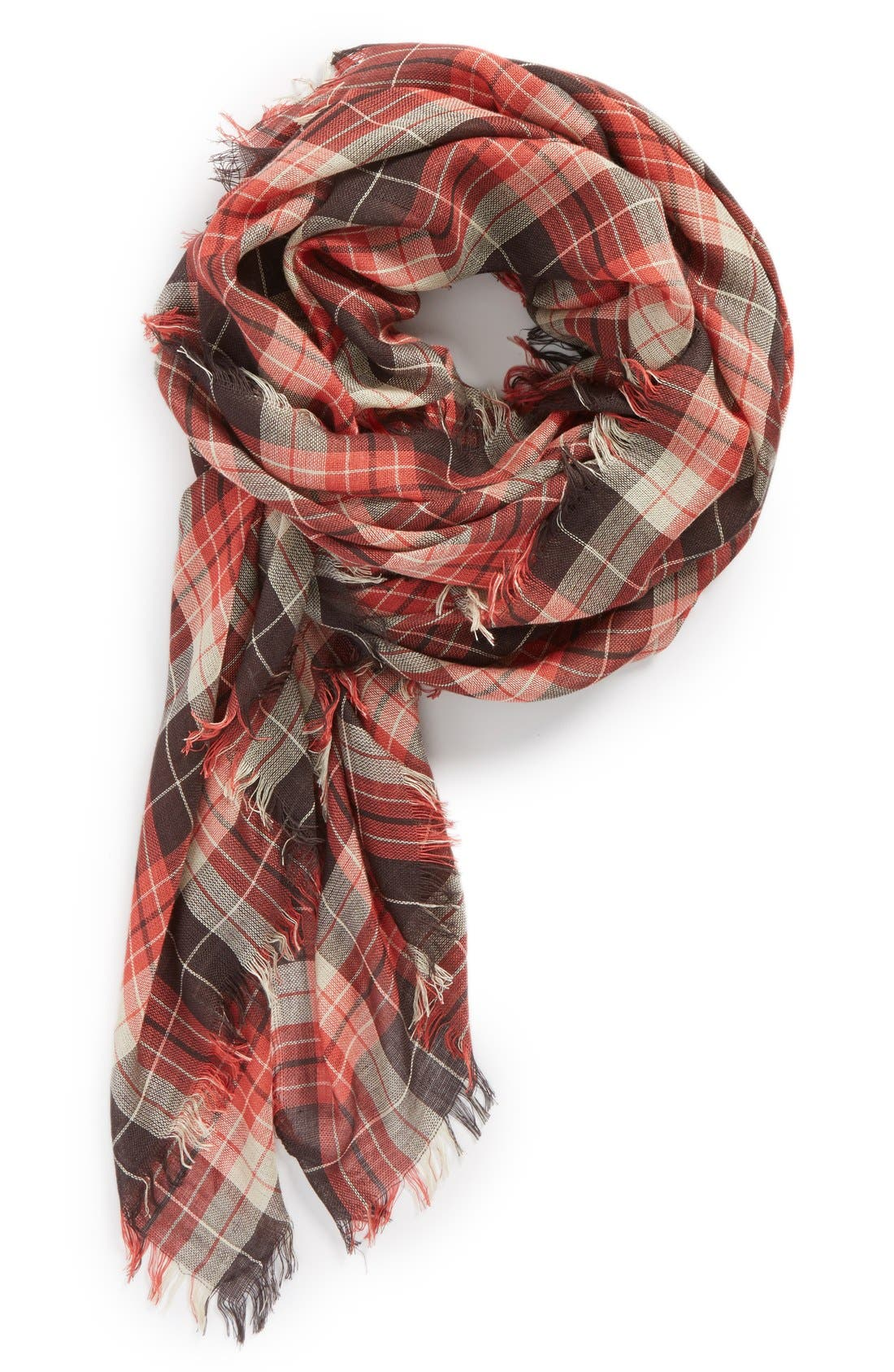 Plaid Scarf,                             Main thumbnail 1, color,                             Red