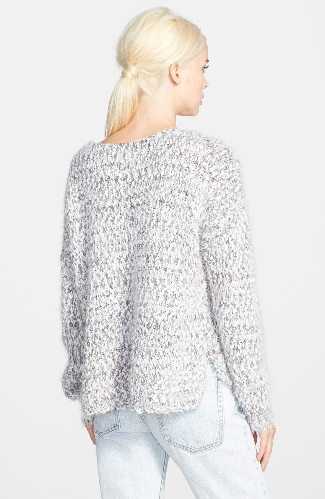 ASTR Marled Fringe Sweater,                             Alternate thumbnail 2, color,                             Grey/ Cream