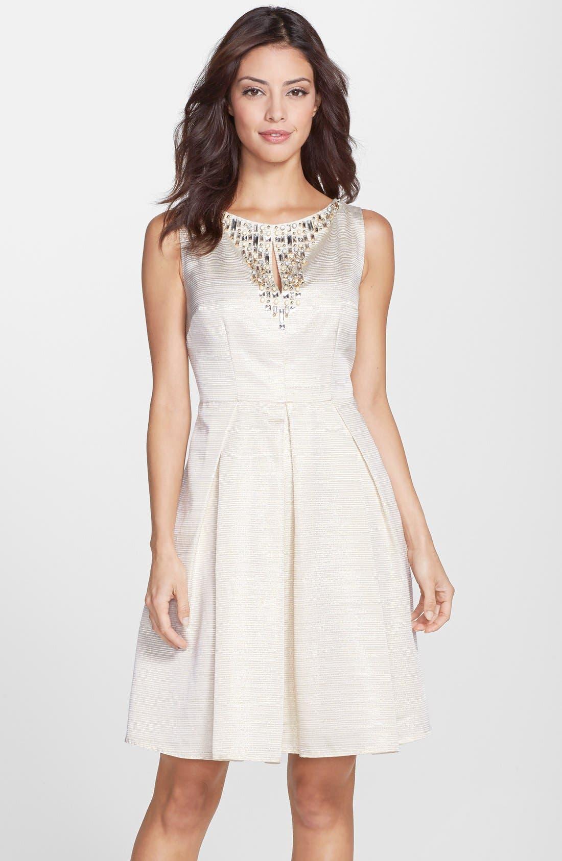 Main Image - Eliza J Embellished Fit & Flare Dress