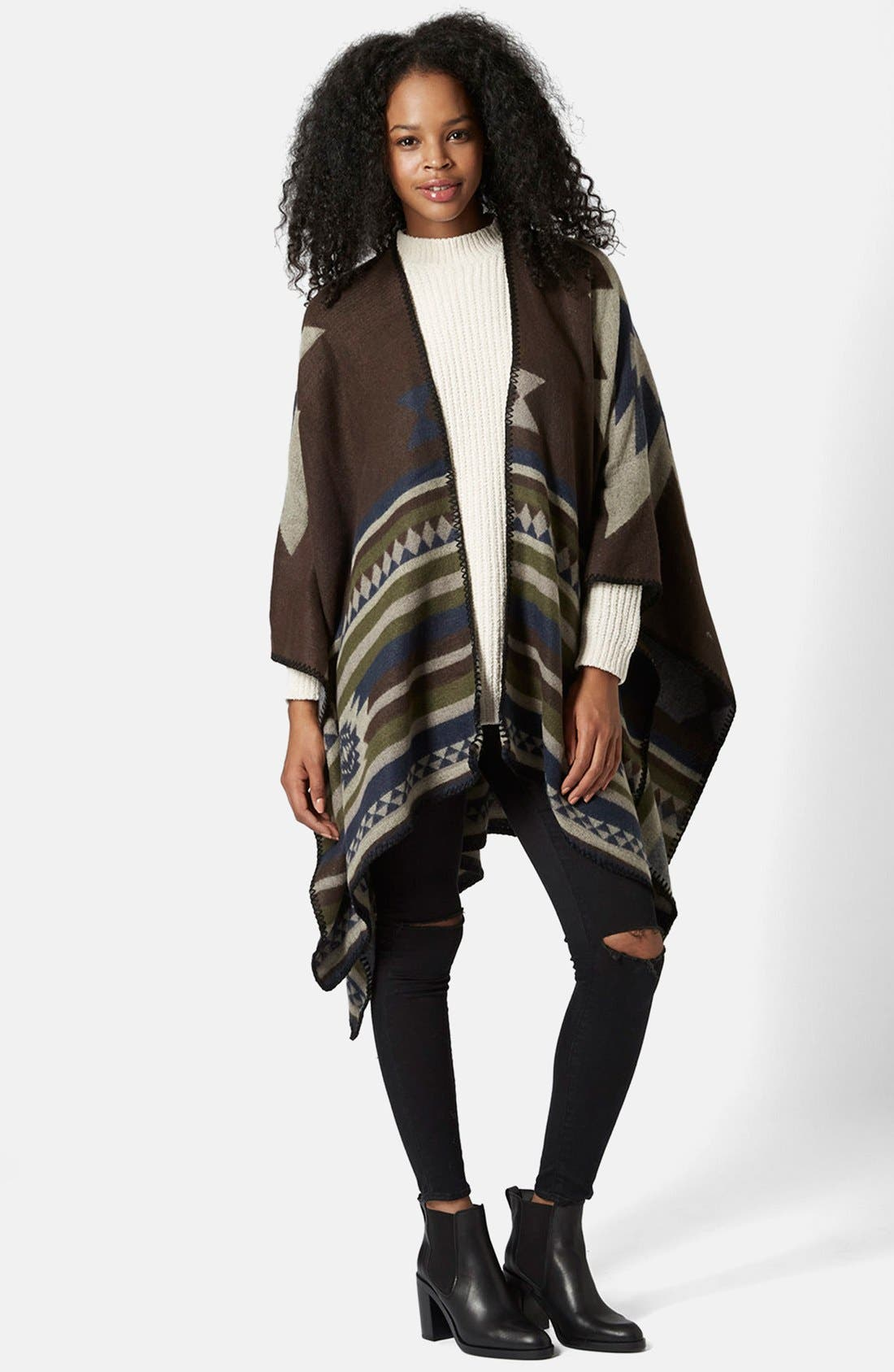 Geo Print Poncho,                             Alternate thumbnail 5, color,                             Brown