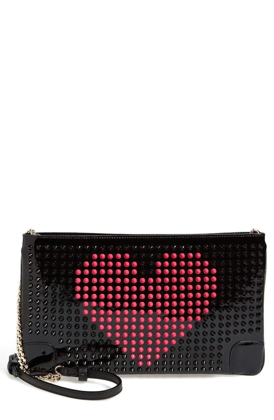 Main Image - Christian Louboutin 'Loubiposh Valentine' Studded Calfskin Clutch