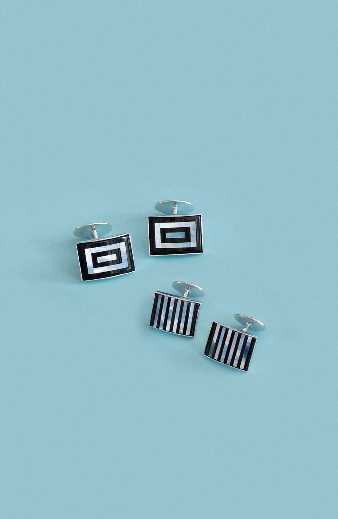 Alternate Image 2  - David Donahue Striped Cuff Links