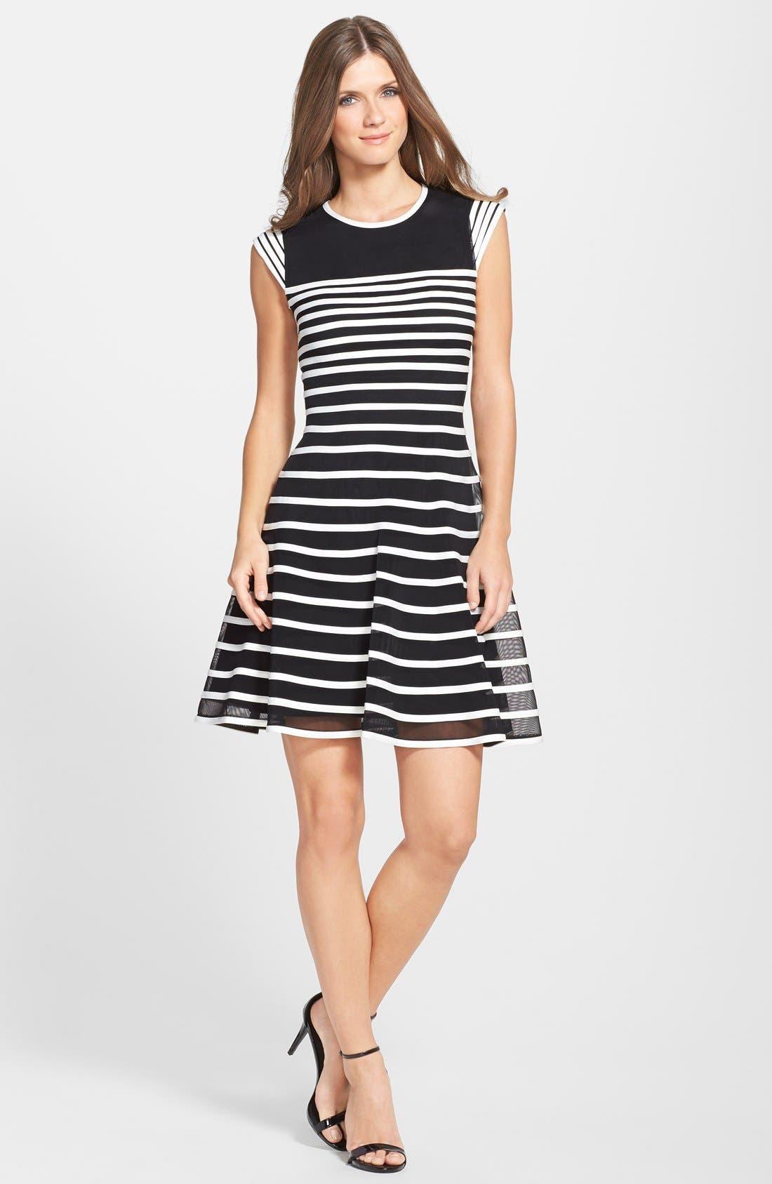 Alternate Image 3  - Betsy & Adam Stripe Mesh Fit & Flare Dress