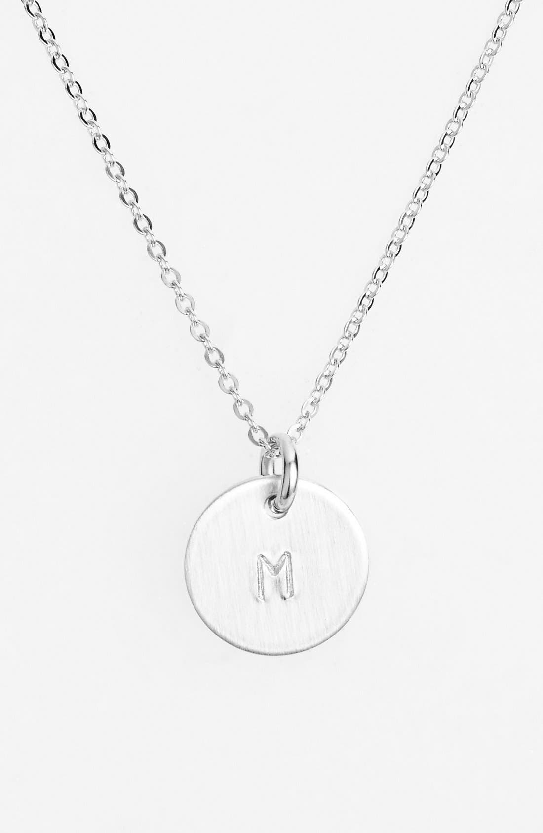 Sterling Silver Initial Mini Disc Necklace,                             Main thumbnail 1, color,                             Sterling Silver M