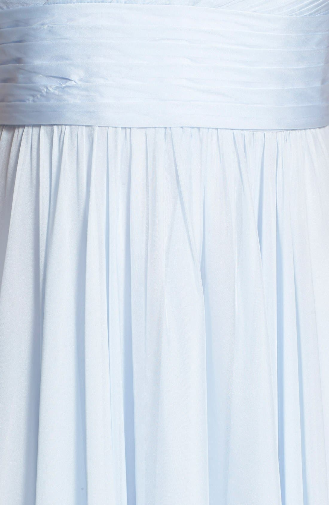 Alternate Image 3  - La Femme Beaded Strap Ruched Chiffon Gown