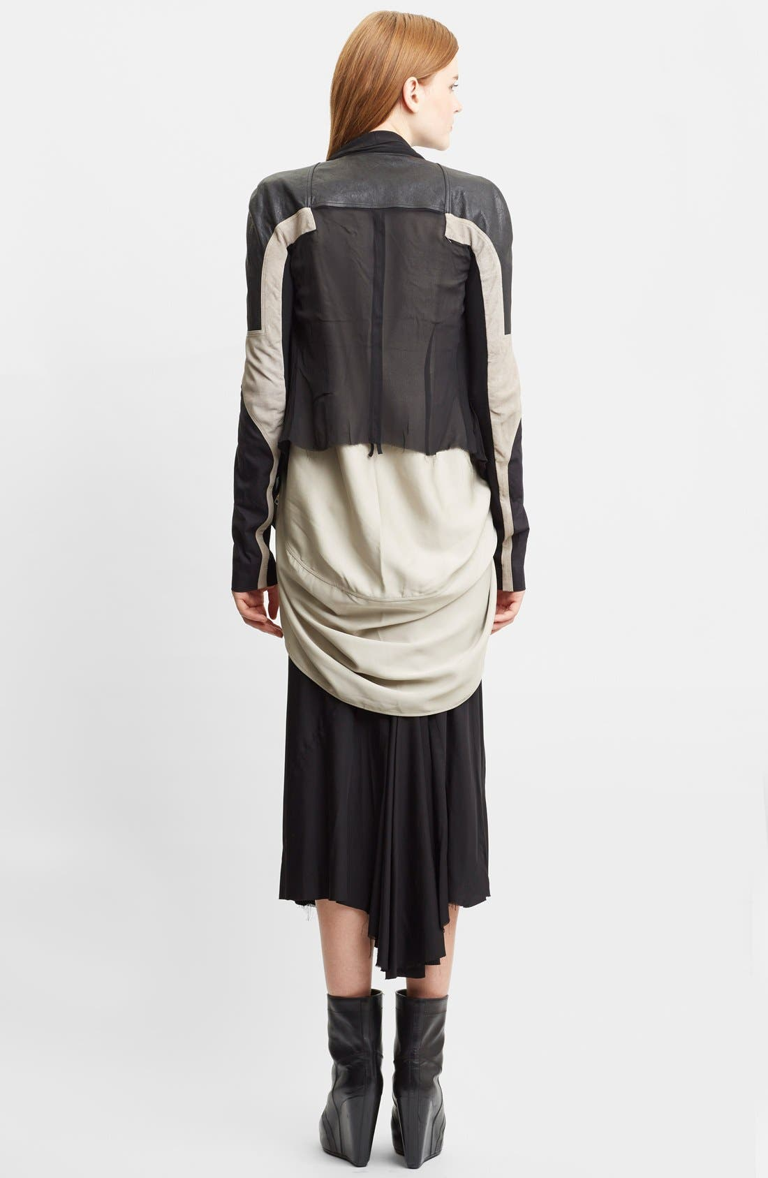 Alternate Image 2  - Rick Owens Mixed Silk Georgette & Leather Moto Jacket