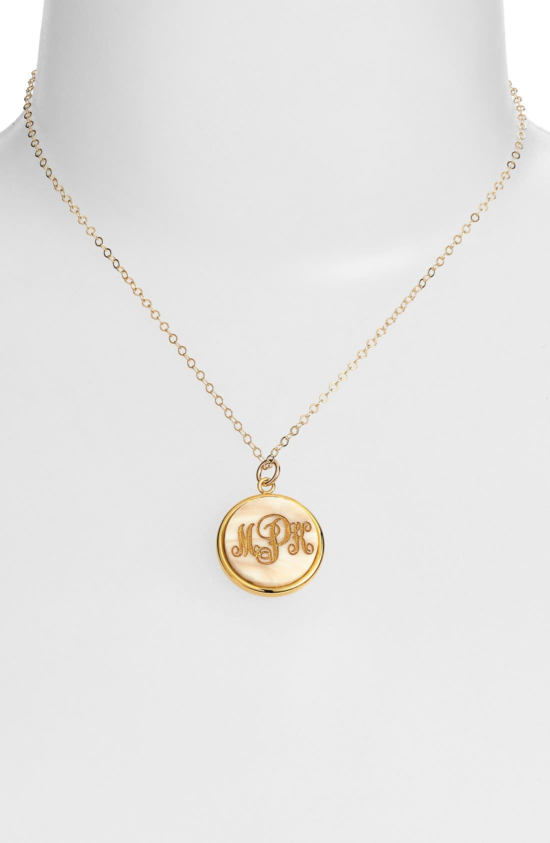 'Vineyard' Personalized Monogram Pendant Necklace,                             Alternate thumbnail 2, color,                             Blonde Tortoise