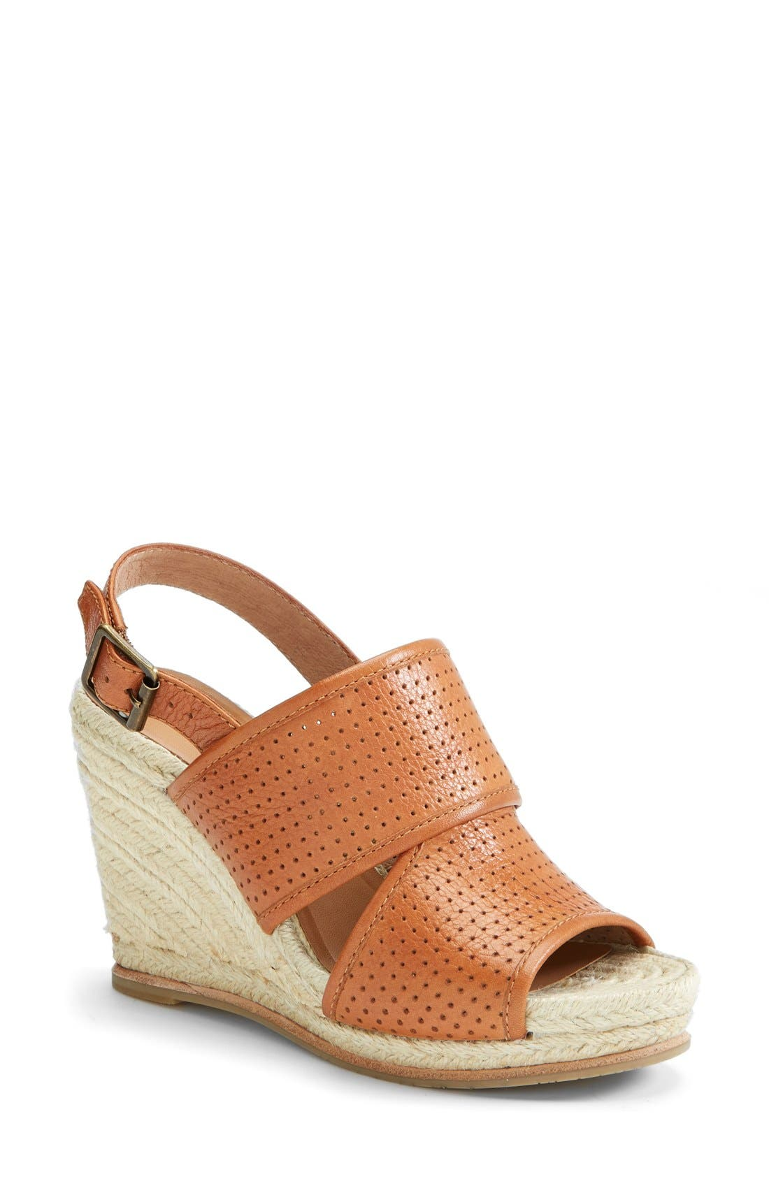 'Joyce' Perforated Espadrille Wedge Sandal,                             Main thumbnail 1, color,                             Brown
