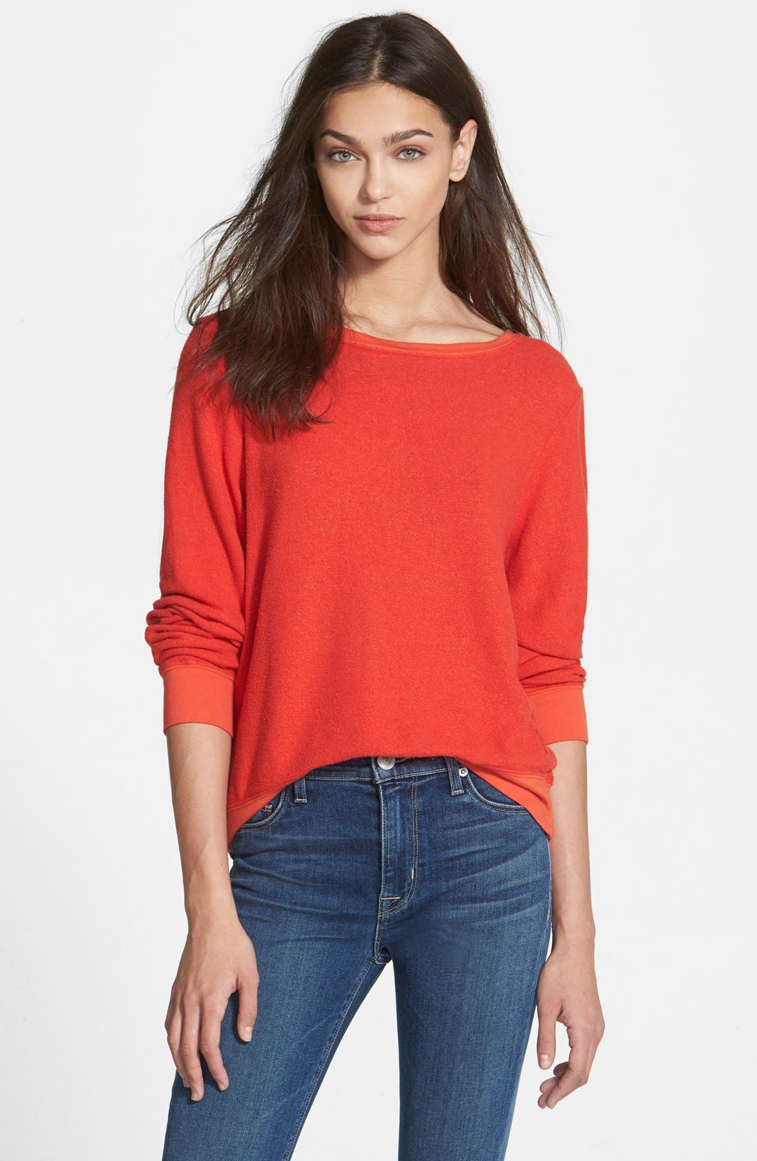 'Baggy Beach Jumper' Pullover,                             Main thumbnail 1, color,                             Hot Lipstick Polydye