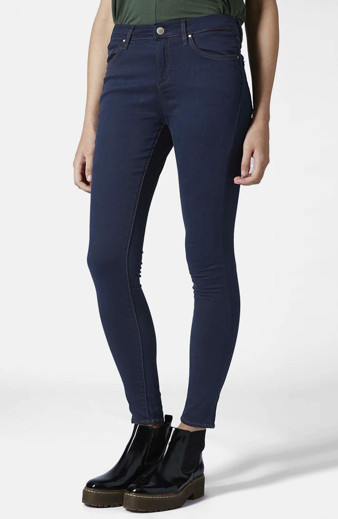 Main Image - Topshop Moto 'Leigh' Skinny Jeans (Blue) (Regular & Short)