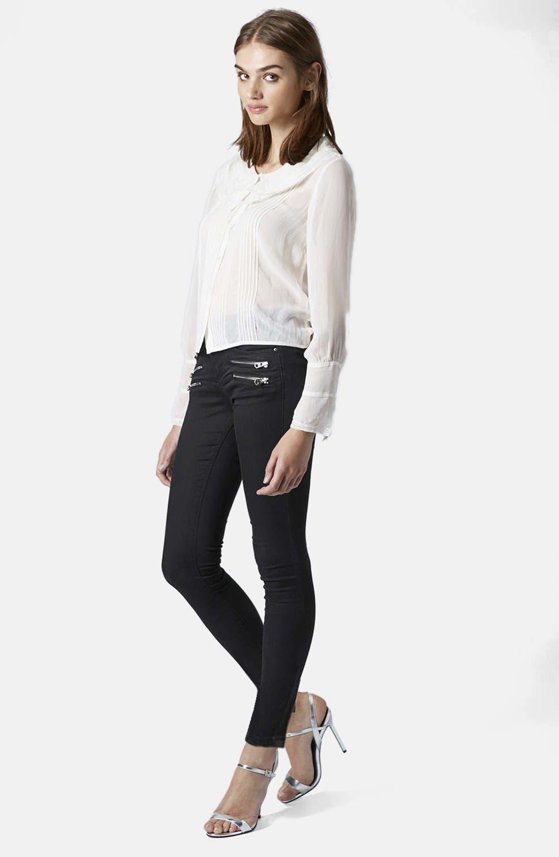 Alternate Image 5  - Topshop Moto Biker Jeans (Black) (Regular & Short)