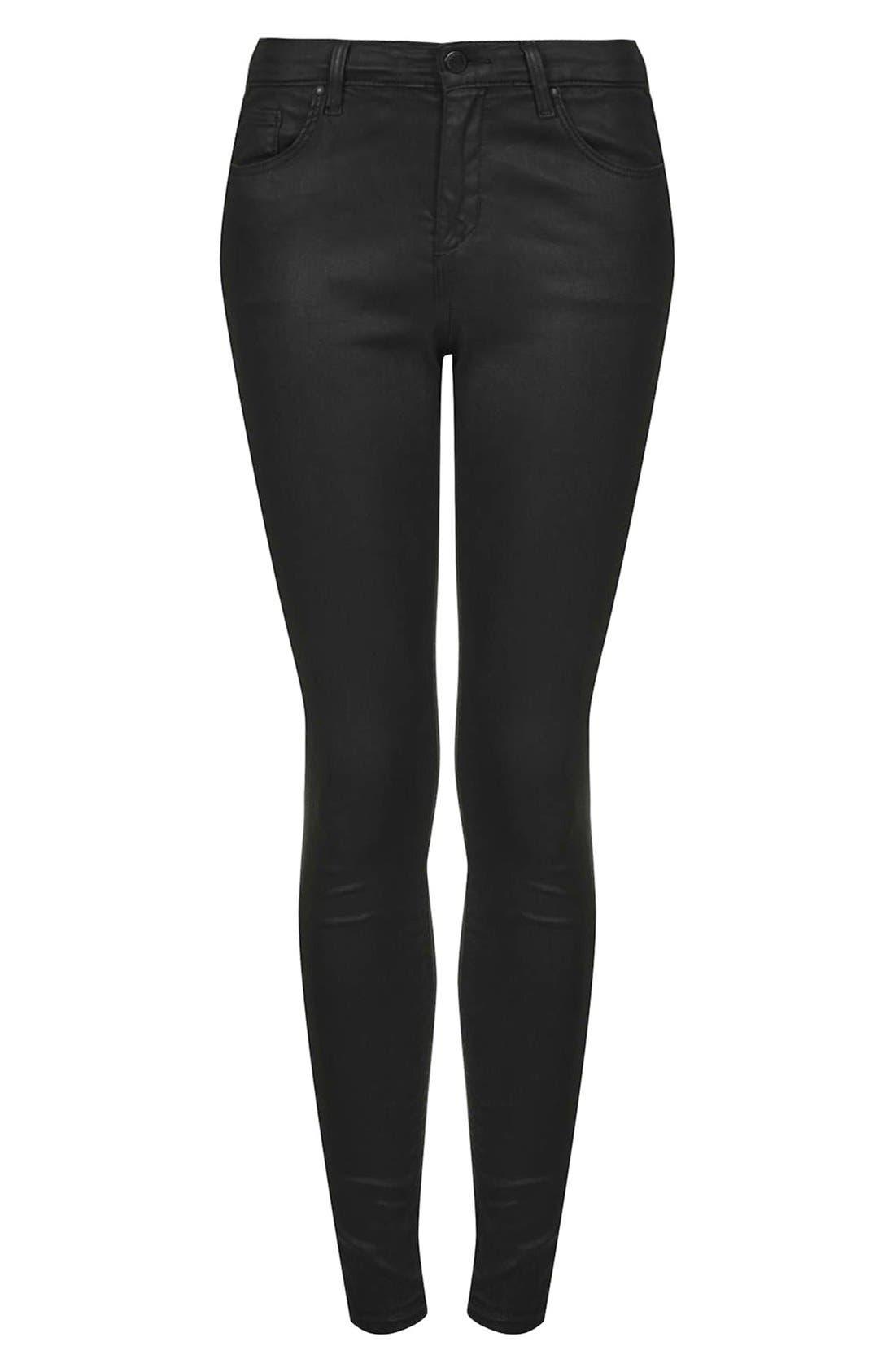 Moto 'Leigh' Coated Skinny Jeans,                             Alternate thumbnail 3, color,                             Black