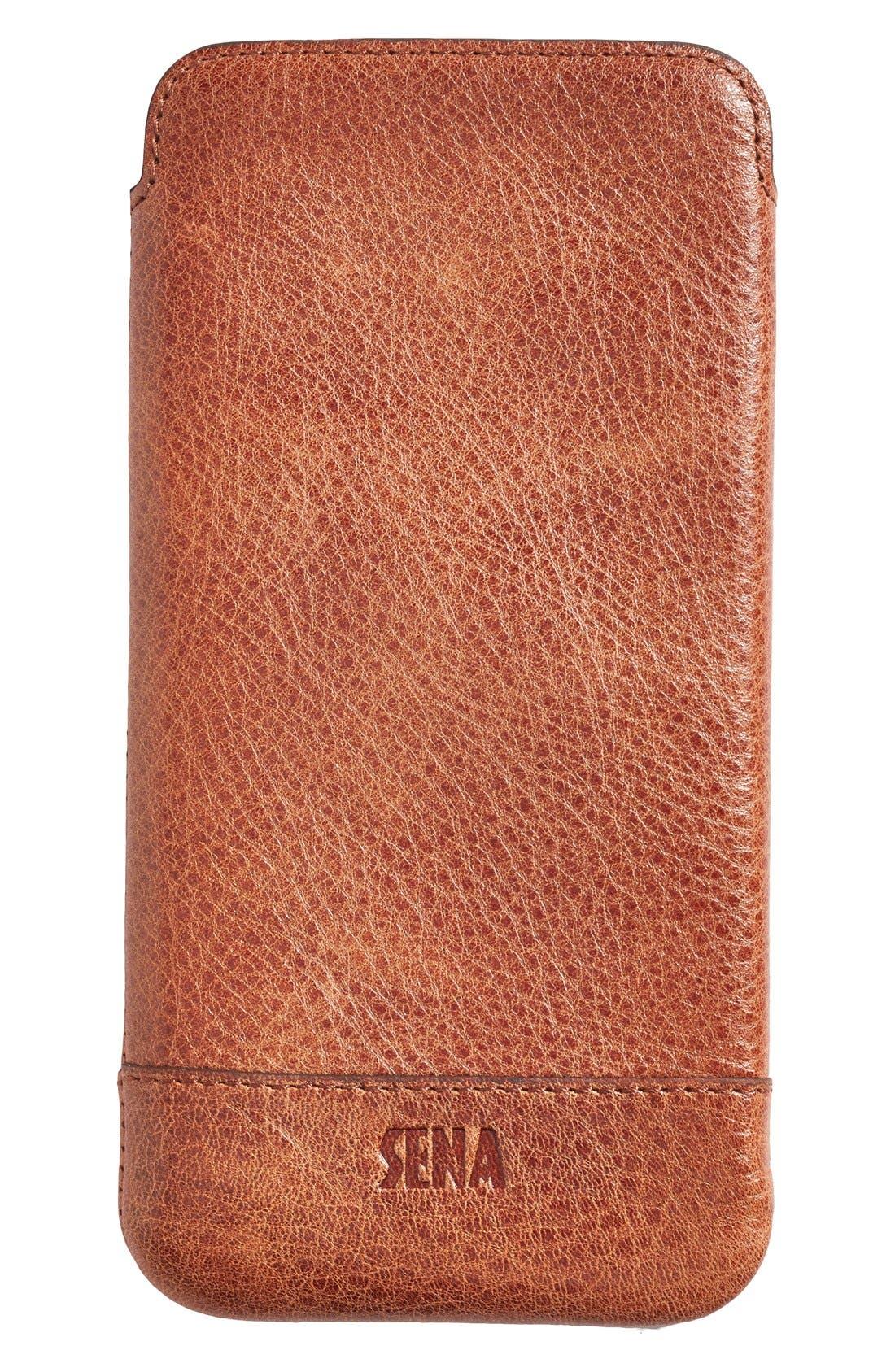 Heritage - Ultra Slim Leather iPhone 6 Plus/6s Plus Pouch,                             Main thumbnail 1, color,                             Cognac