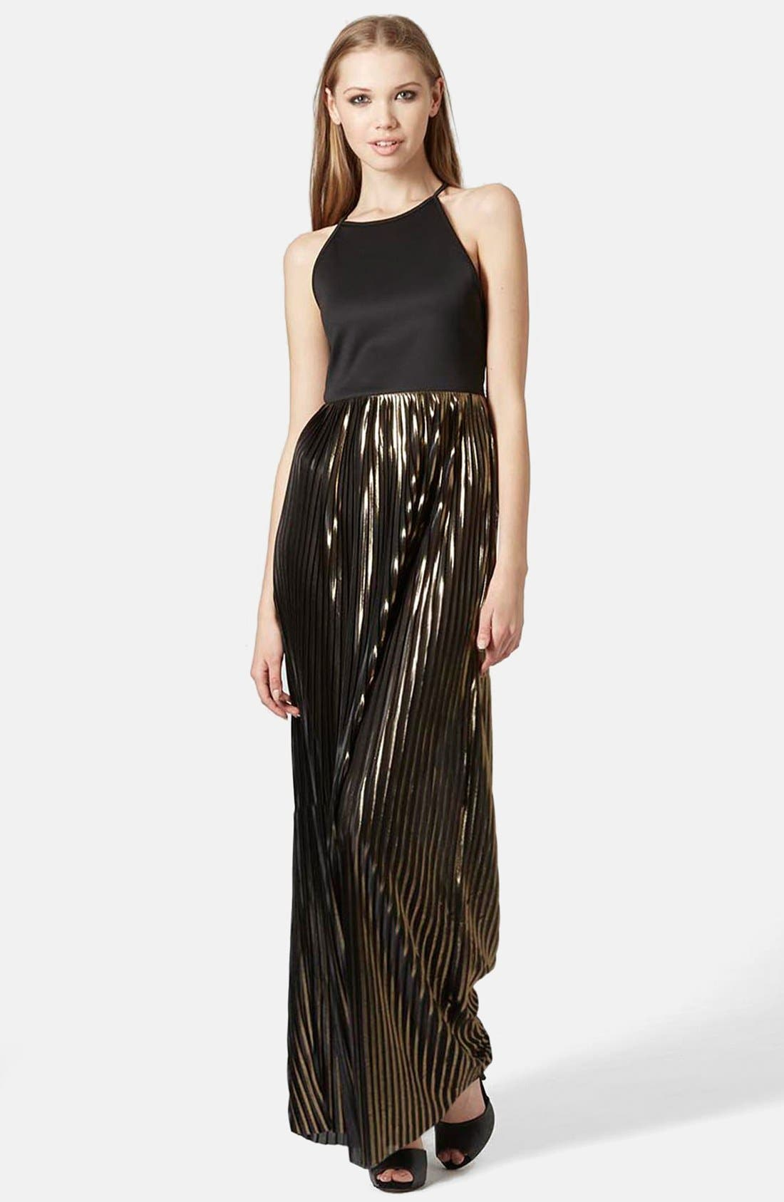 Main Image - Topshop Strappy Pleated Maxi Dress
