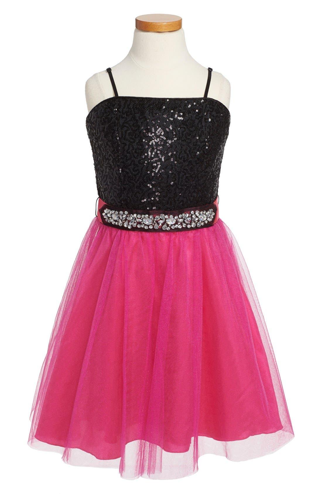 Alternate Image 1 Selected - Un Deux Trois Sequin Party Dress (Big Girls)