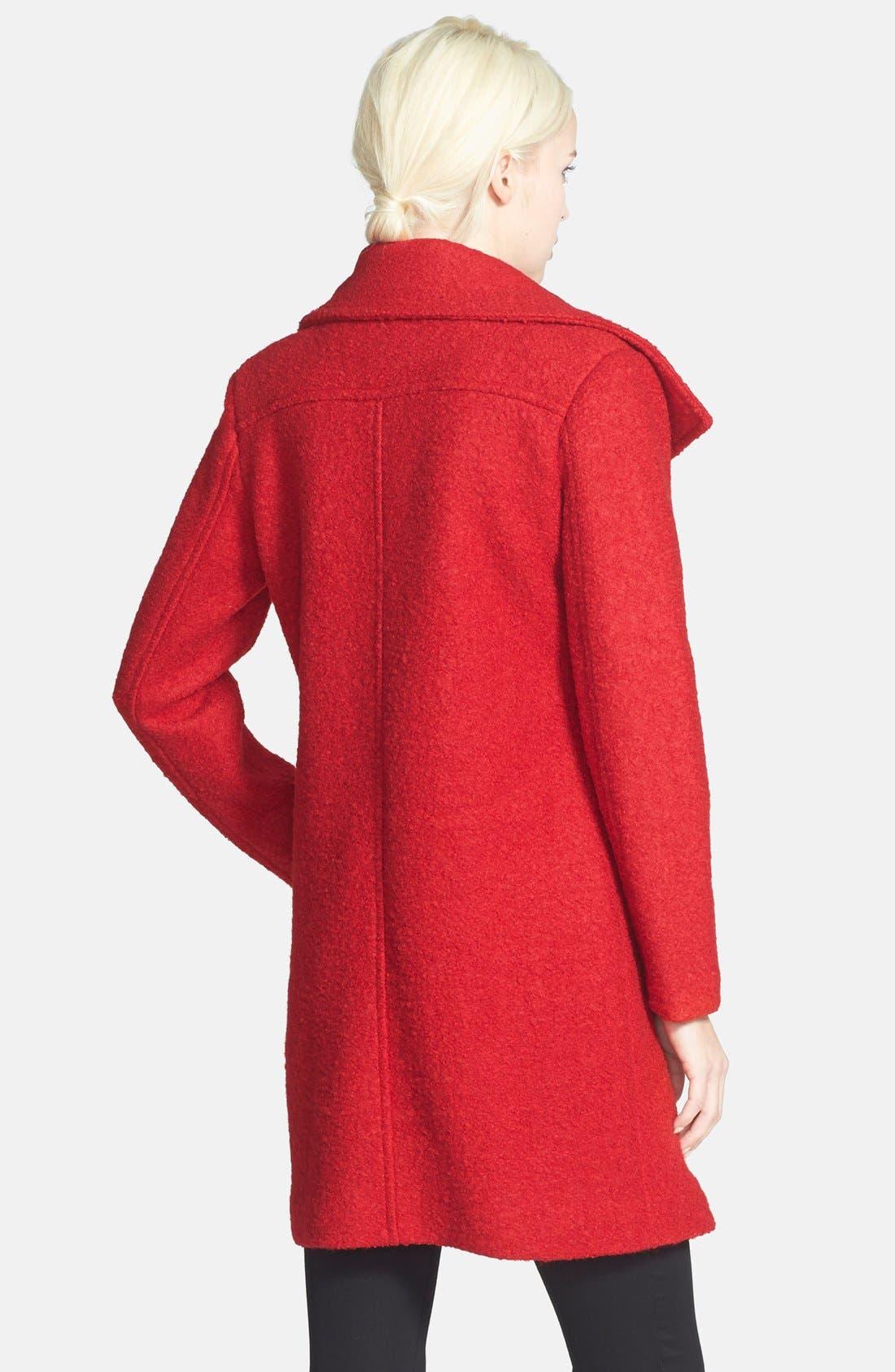 Asymmetrical Zip Coat,                             Alternate thumbnail 2, color,                             Raspberry