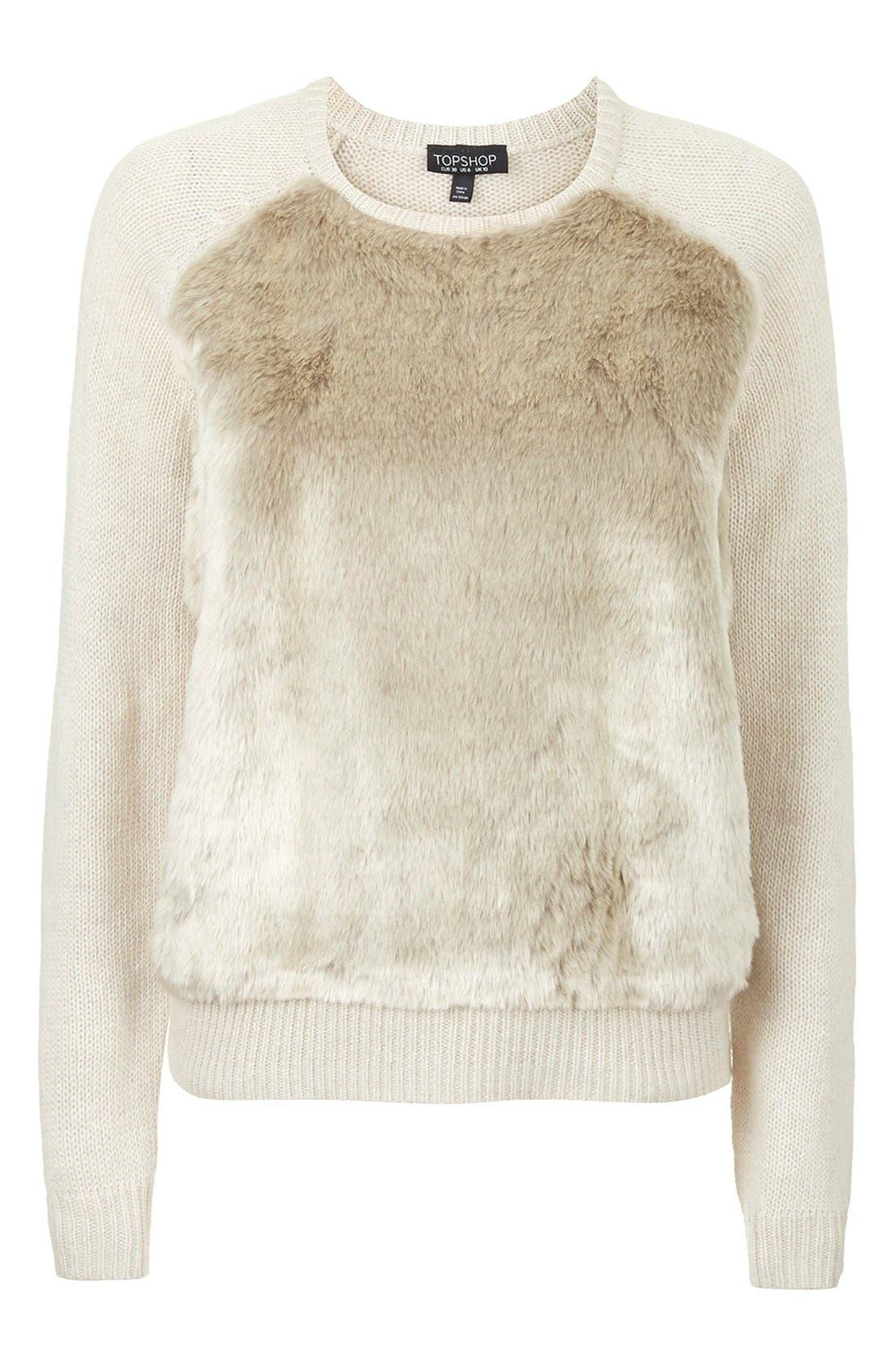 Alternate Image 3  - Topshop Faux Fur Front Sweater