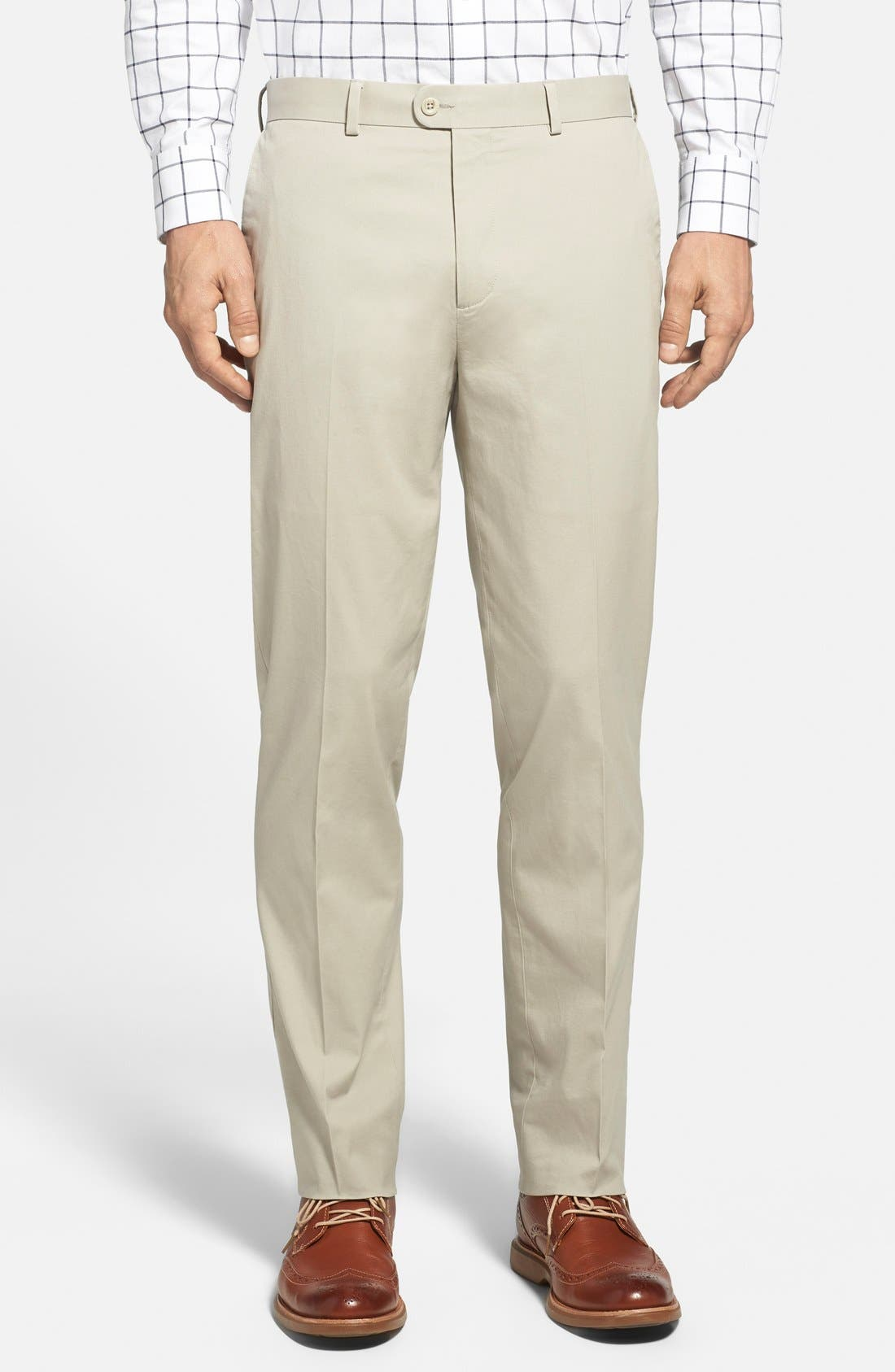 Washed Trim Fit Stretch Cotton Trousers,                         Main,                         color, Stone