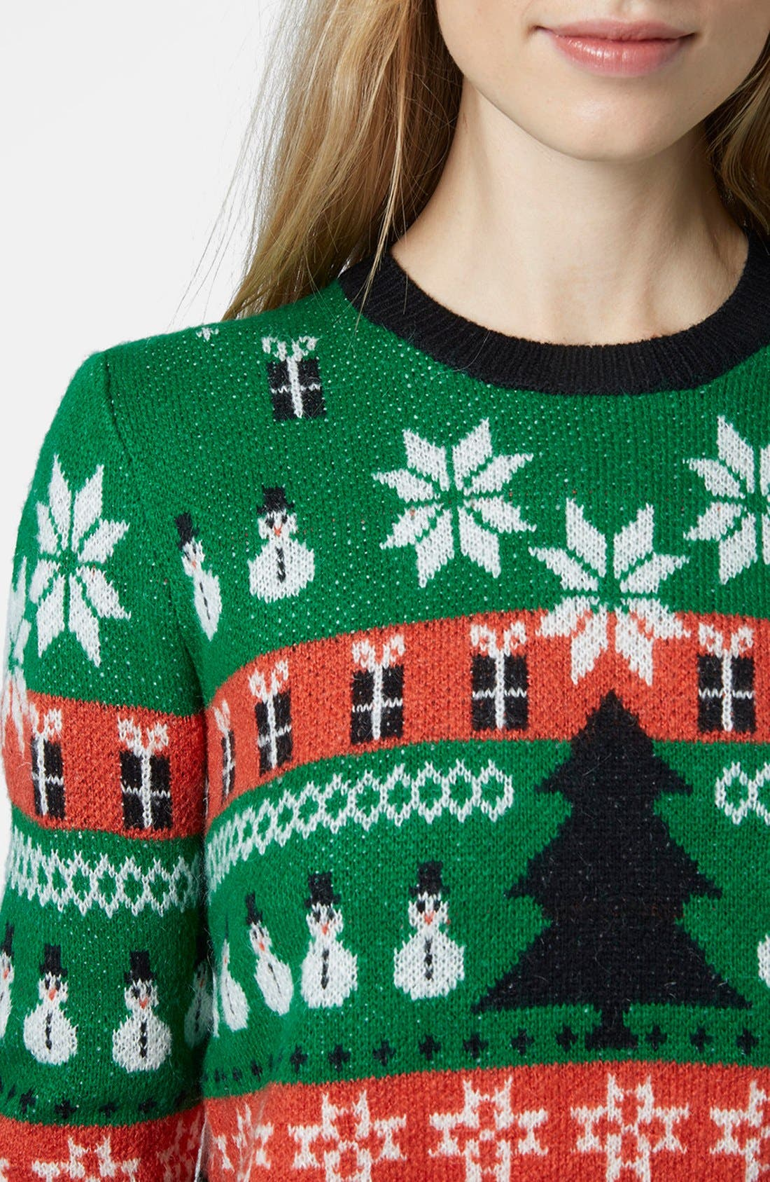 Holiday Fair Isle Sweater,                             Alternate thumbnail 4, color,                             Green Multi