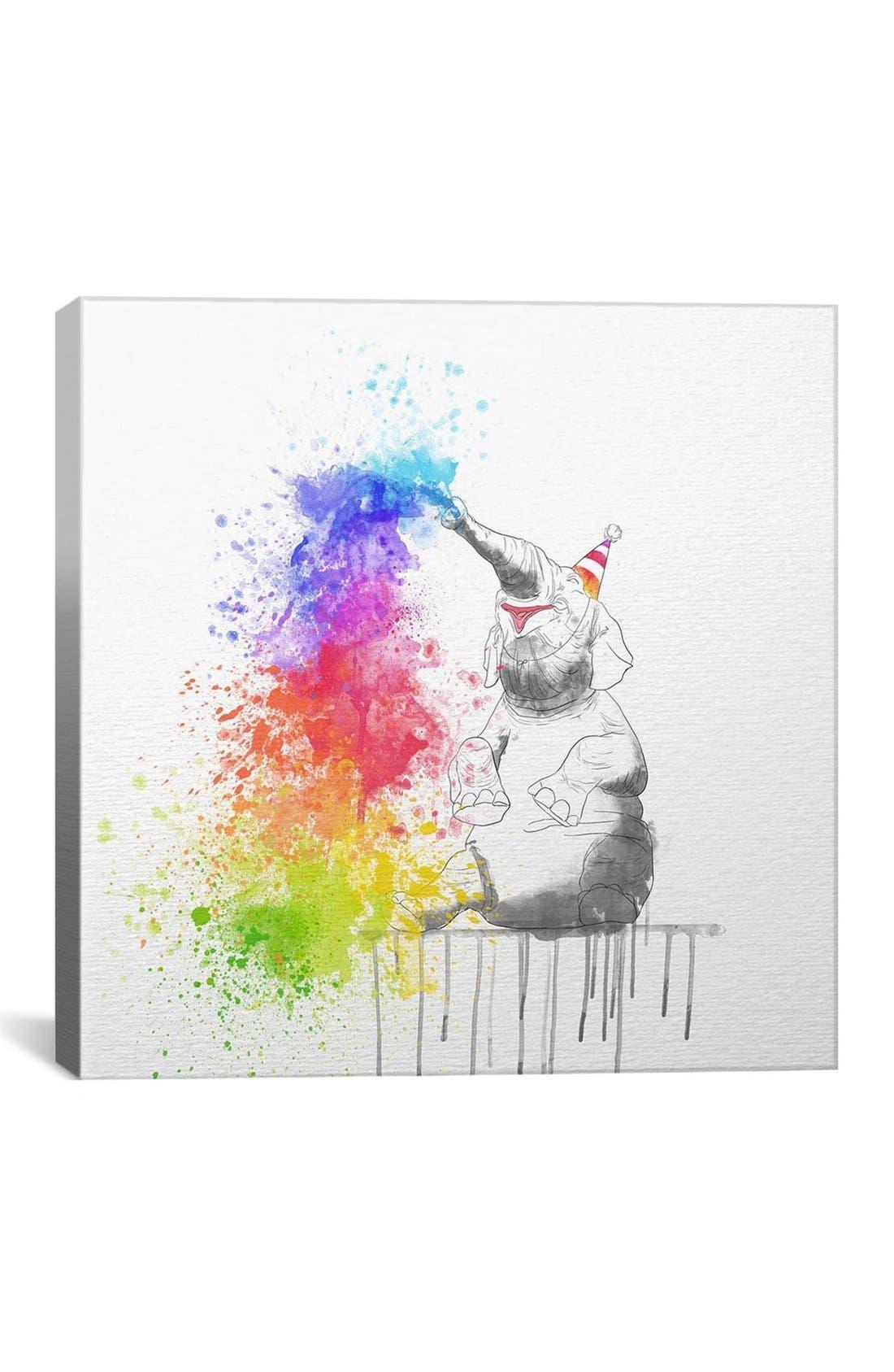 'Happy Elephant - DarkLord' Giclée Print Canvas Art,                         Main,                         color, White/ Multi