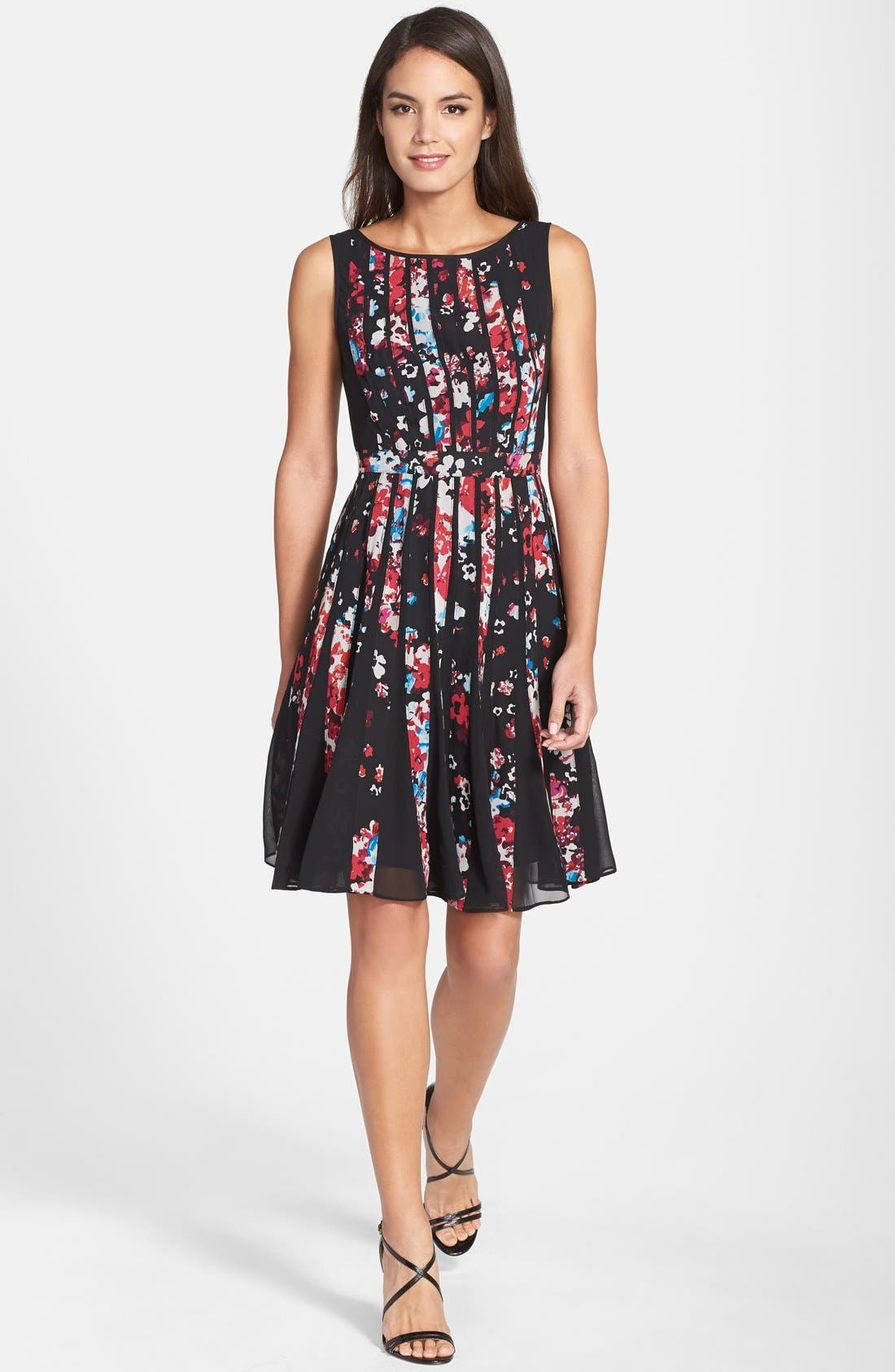 Alternate Image 3  - Adrianna Papell Floral Print Chiffon Fit & Flare Dress