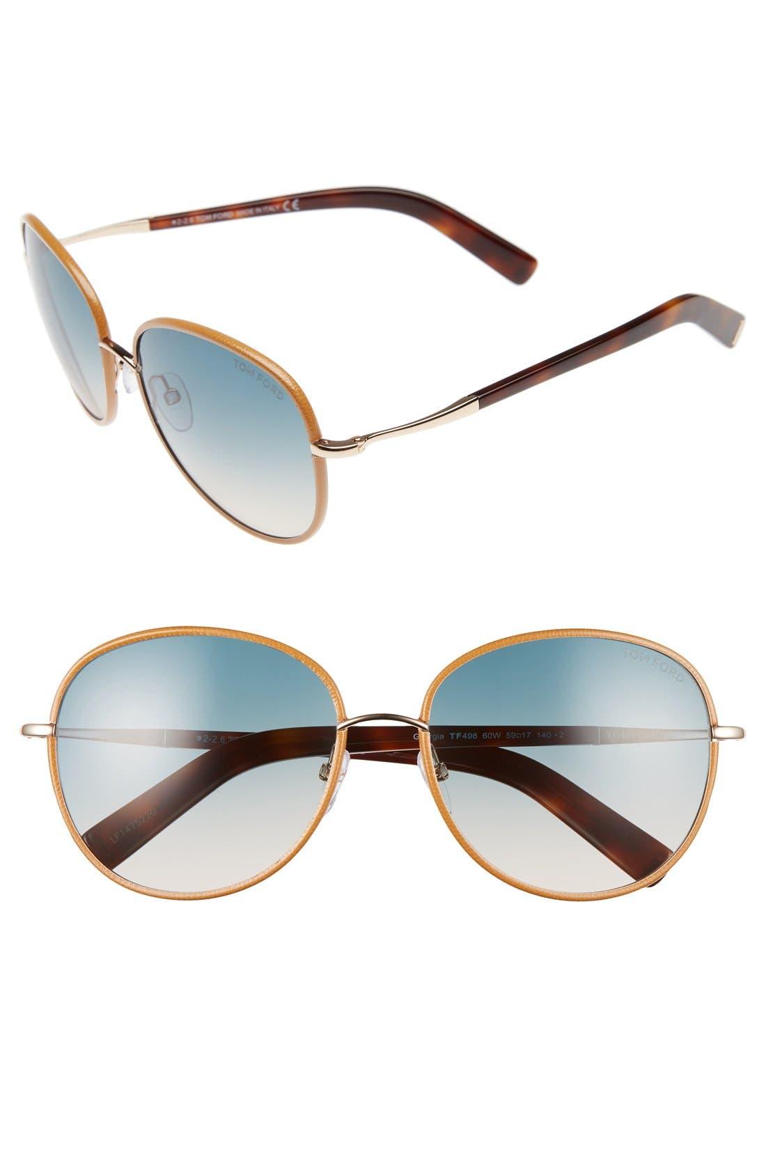 Georgia 59mm Sunglasses,                         Main,                         color, Rose Gold/ Beige/ Sand