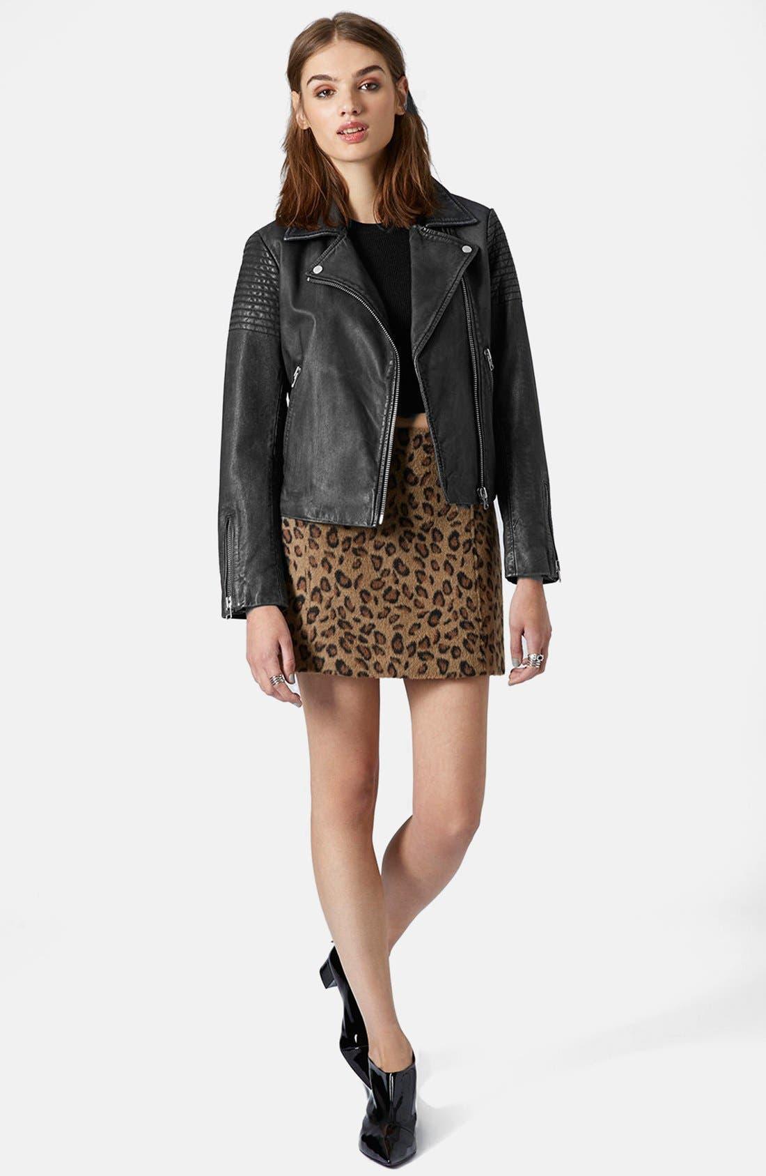Alternate Image 5  - Topshop Sheepskin Leather Biker Jacket
