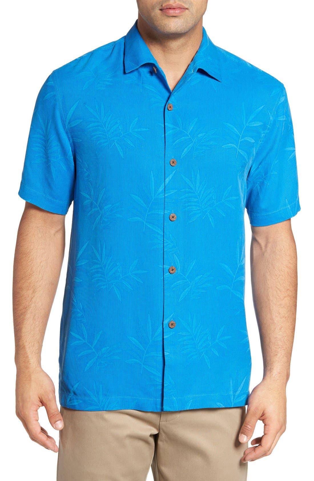 Luau Floral Silk Shirt,                             Main thumbnail 1, color,                             Download Blue