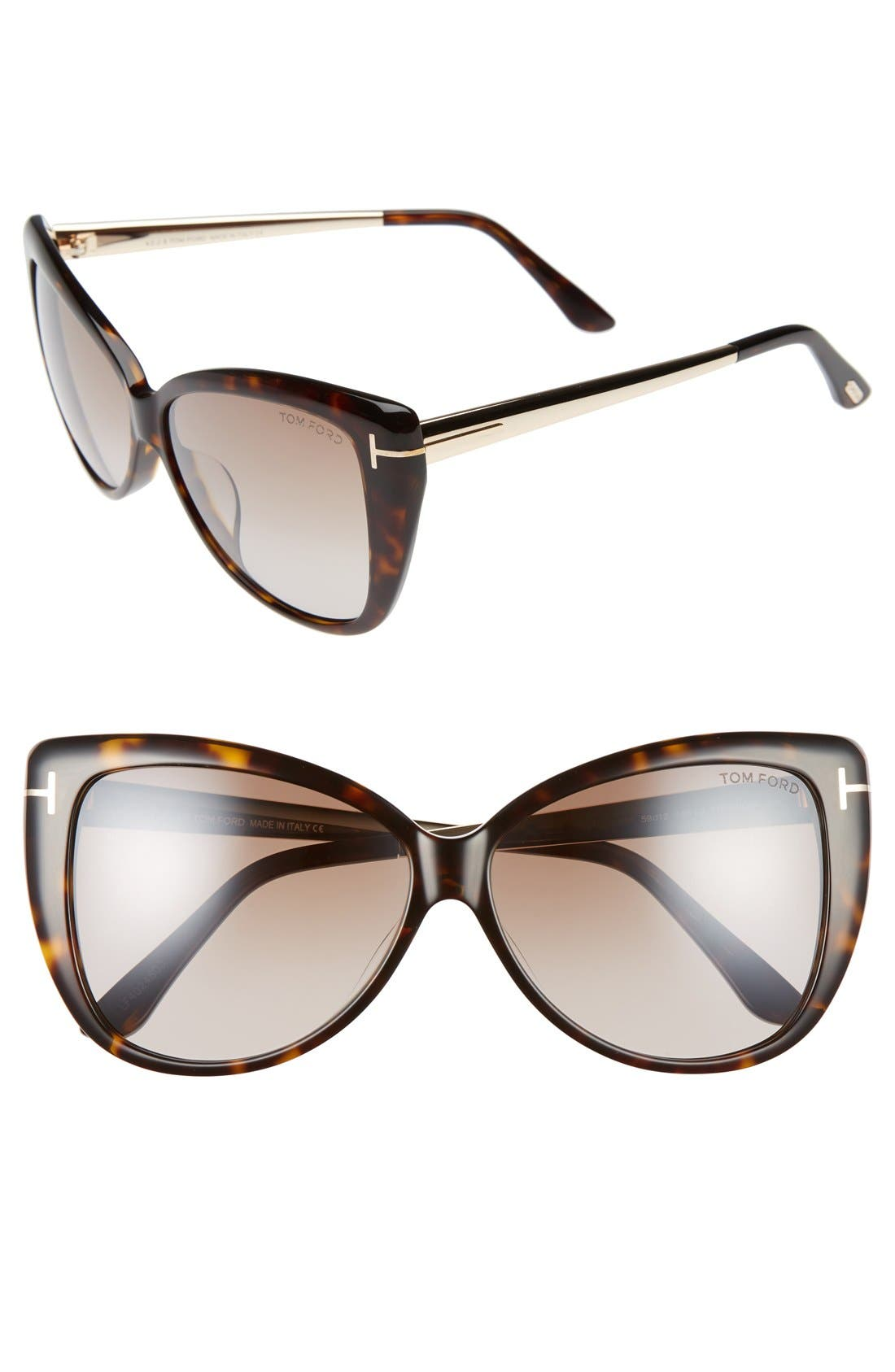 Reveka 59mm Special Fit Butterfly Sunglasses,                         Main,                         color, Havana/ Rose Gold/ Brown Flash