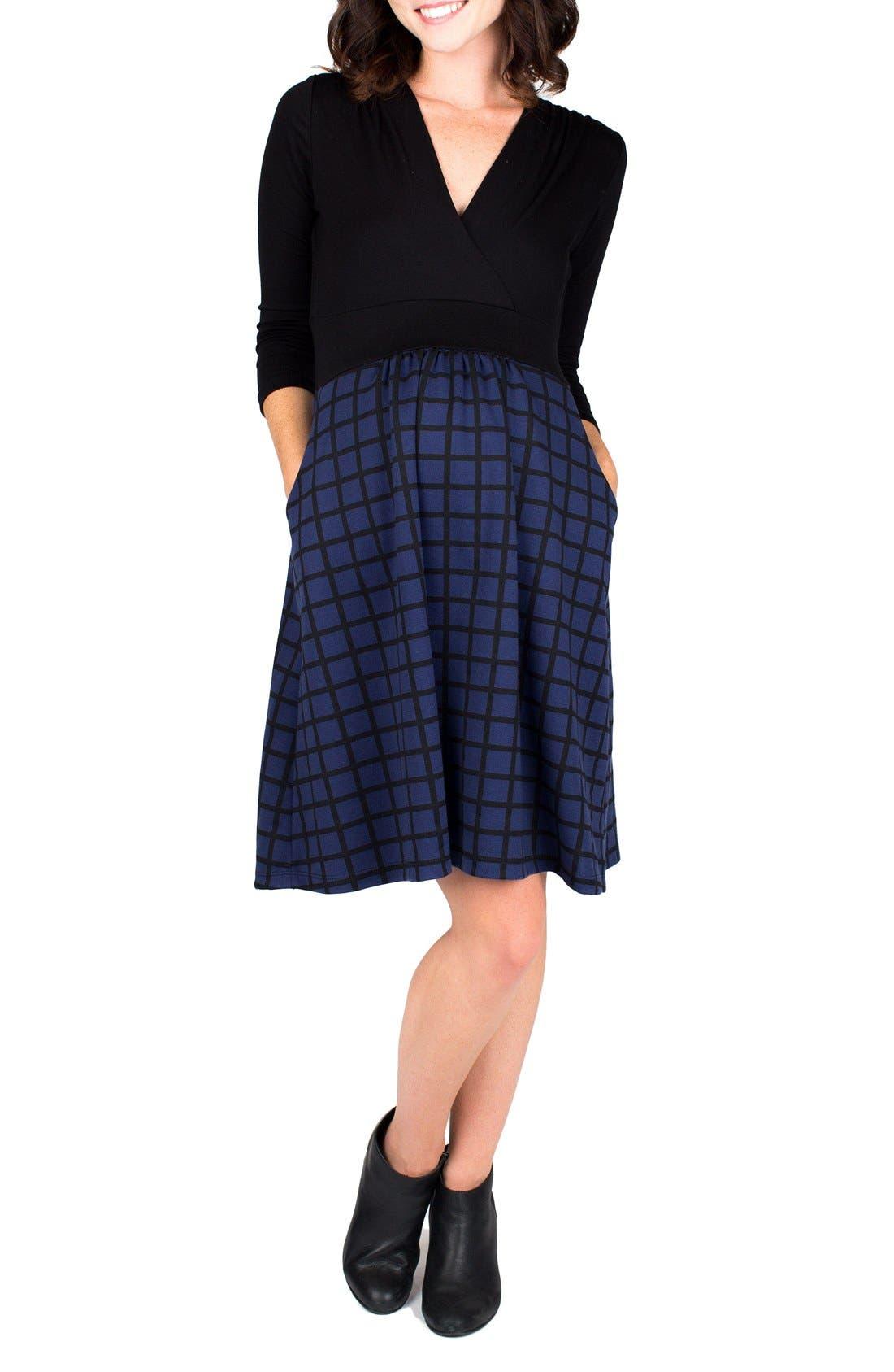 Nom 'Nora' Surplice Maternity/Nursing Dress,                         Main,                         color, Navy Windowpane