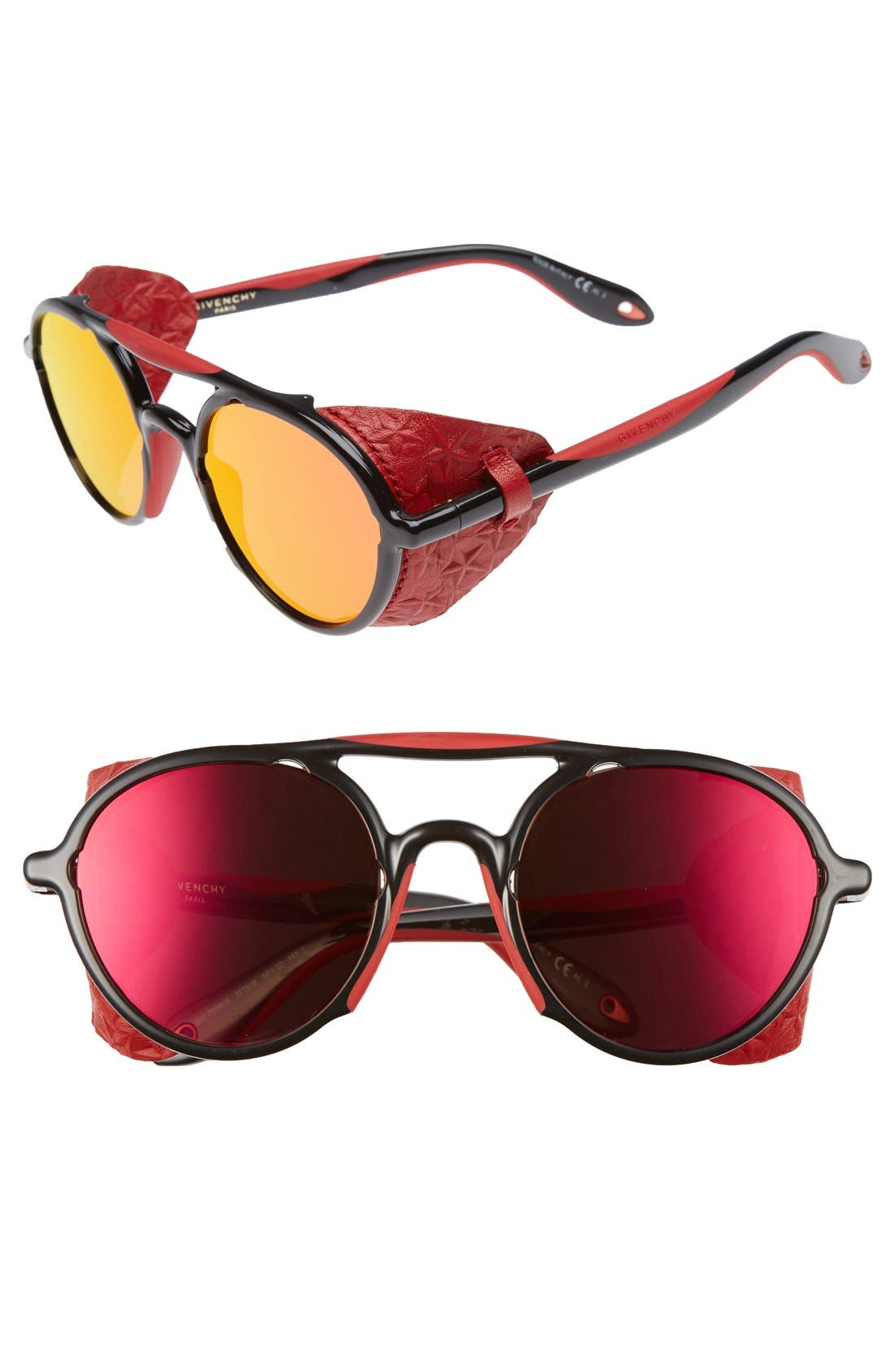 50mm Sunglasses,                             Main thumbnail 1, color,                             Black/ Red