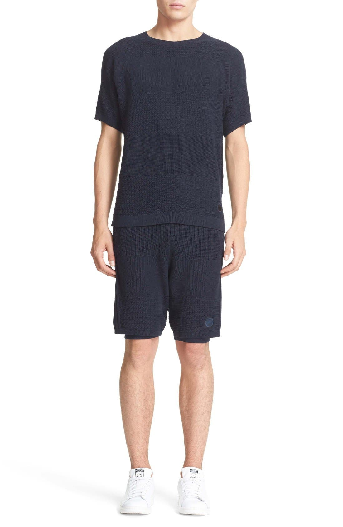Linear Texture Knit Shorts,                             Alternate thumbnail 6, color,                             Night Navy