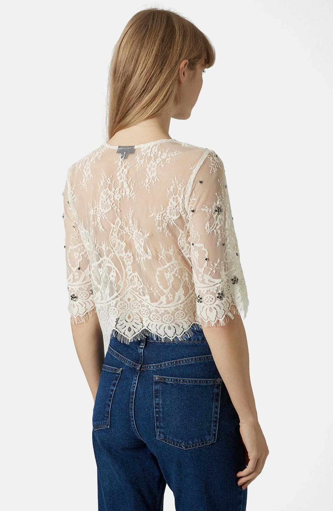 Alternate Image 2  - Topshop Sheer Mesh Crop Top