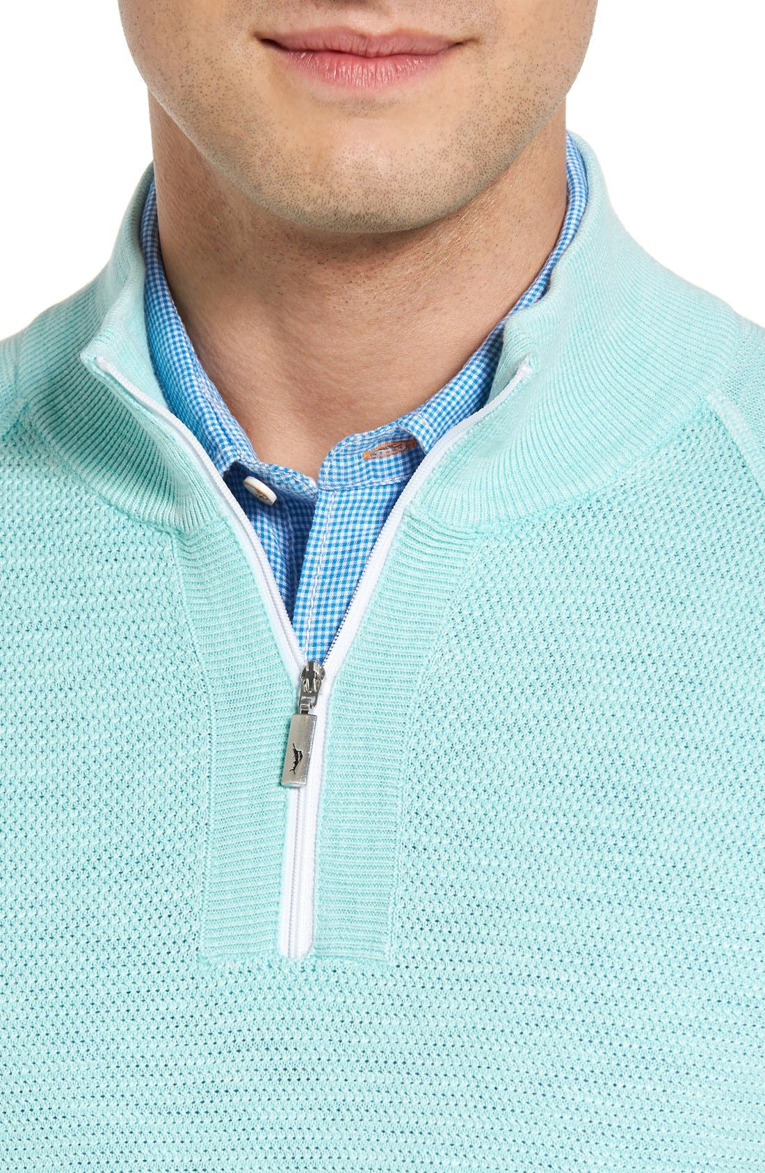 Saltwater Tide Half Zip Pullover,                             Alternate thumbnail 4, color,                             Aquarius
