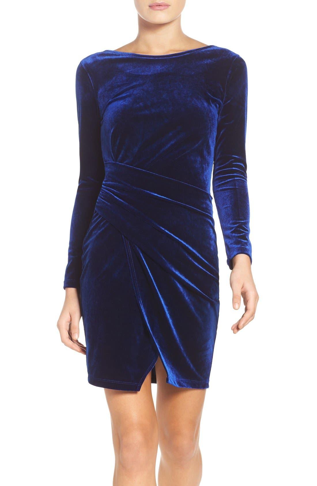 Velvet Body-Con Dress,                             Main thumbnail 1, color,                             Navy