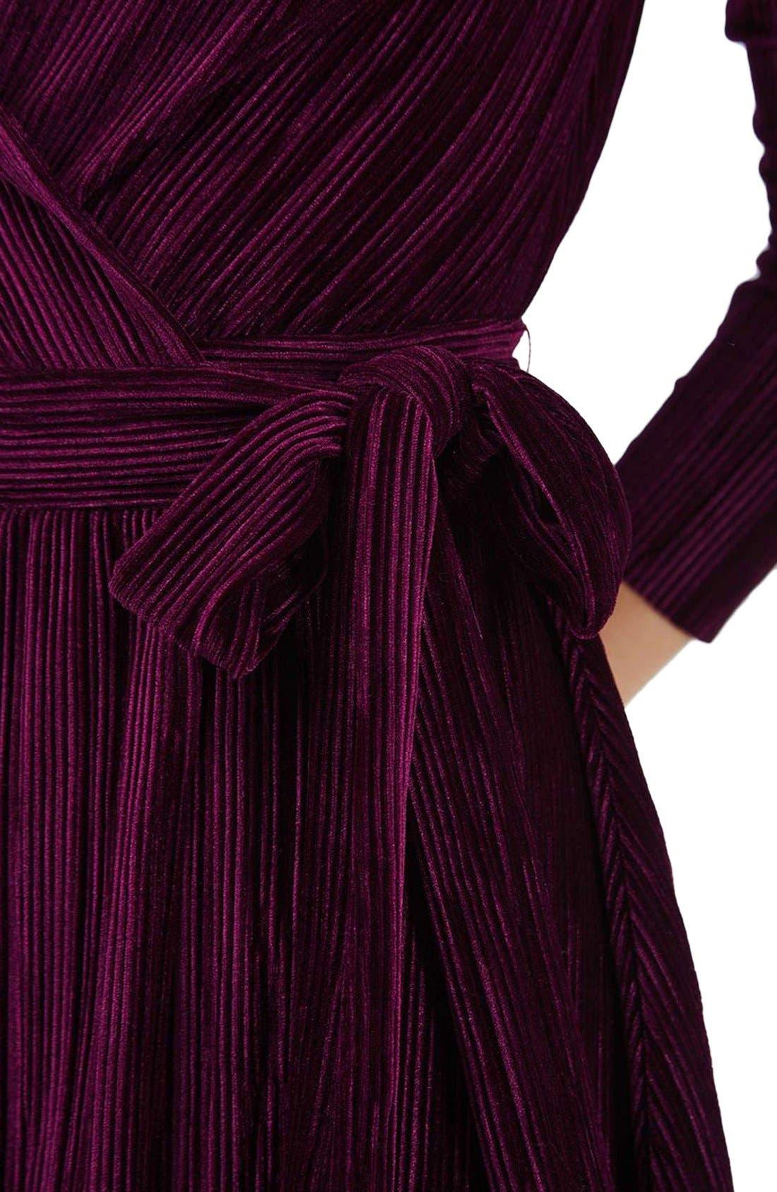 Velvet Wrap Dress,                             Alternate thumbnail 5, color,                             Wine
