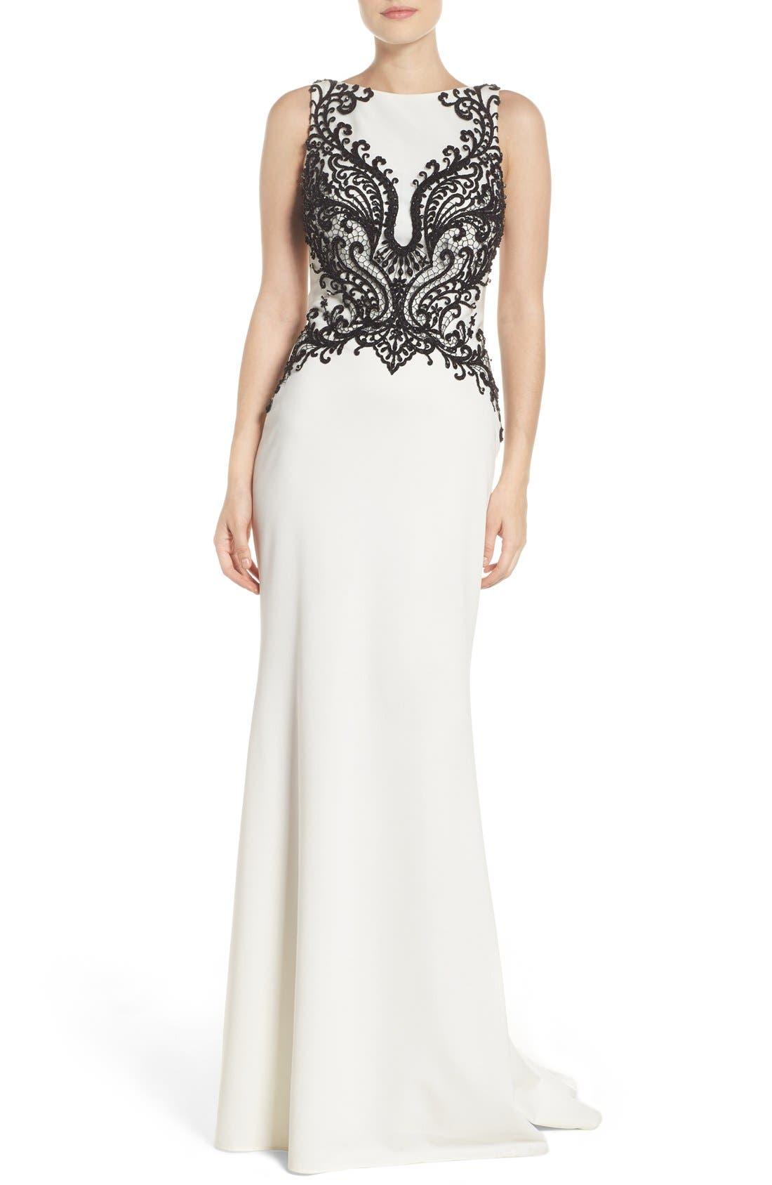La Femme Embellished Column Gown