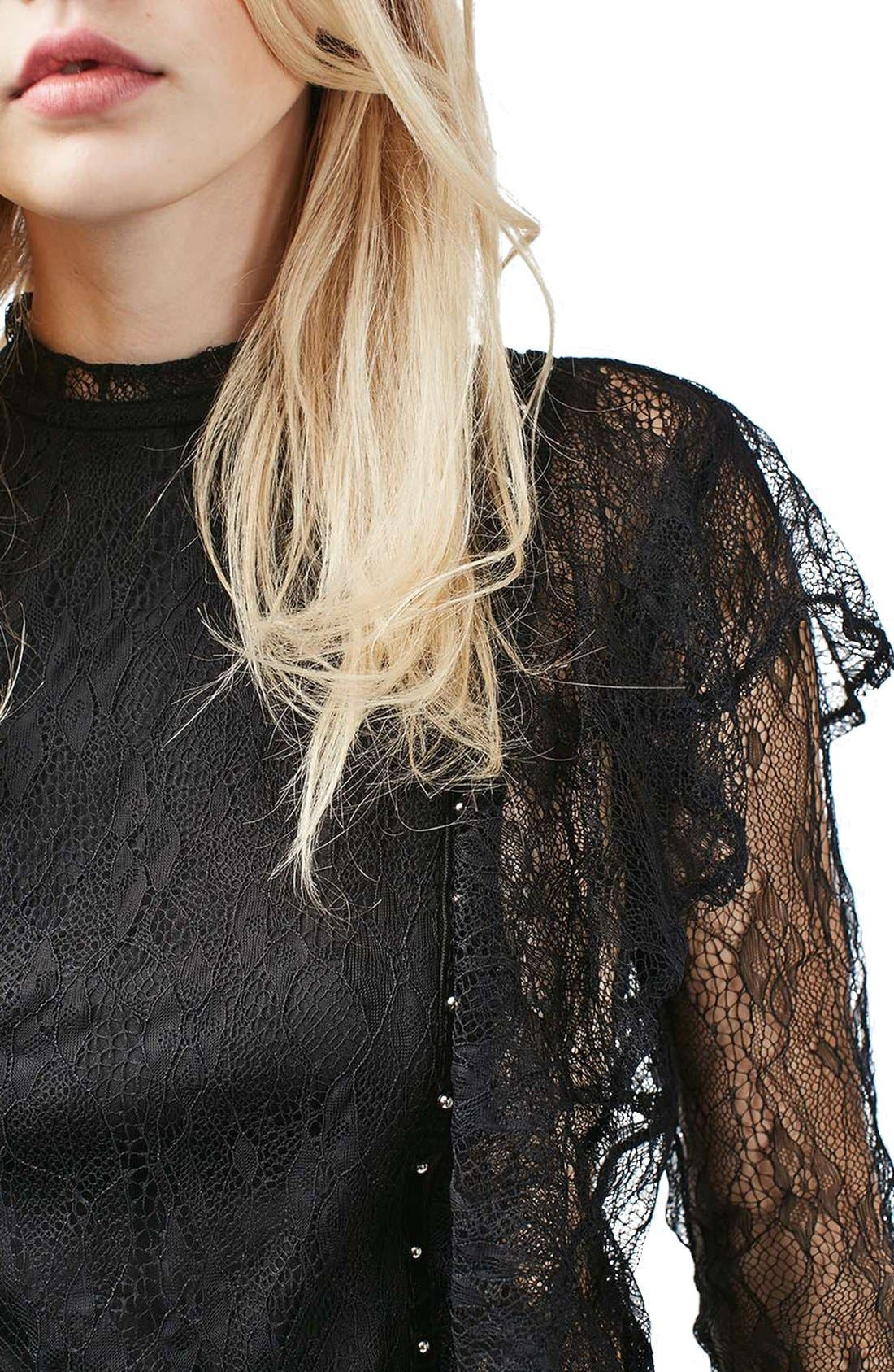 Alternate Image 6  - Topshop Ruffle Stud Lace Top