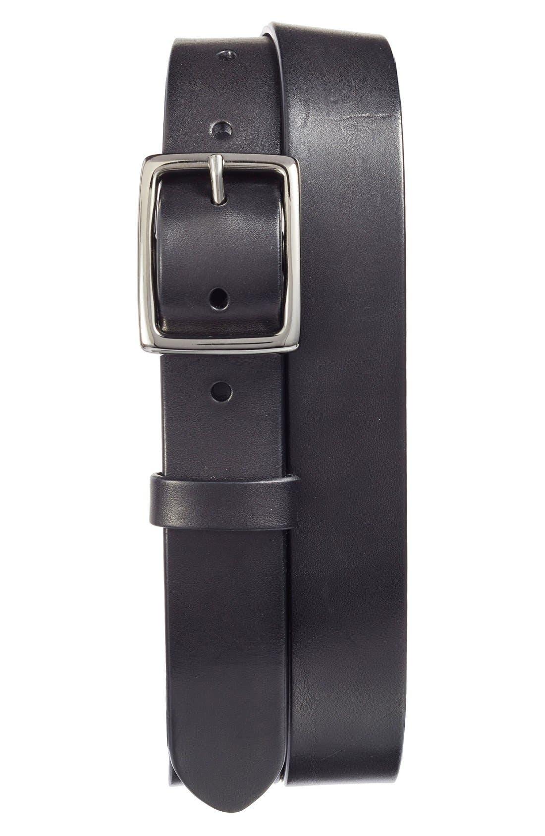 Jet Leather Belt,                         Main,                         color, Black