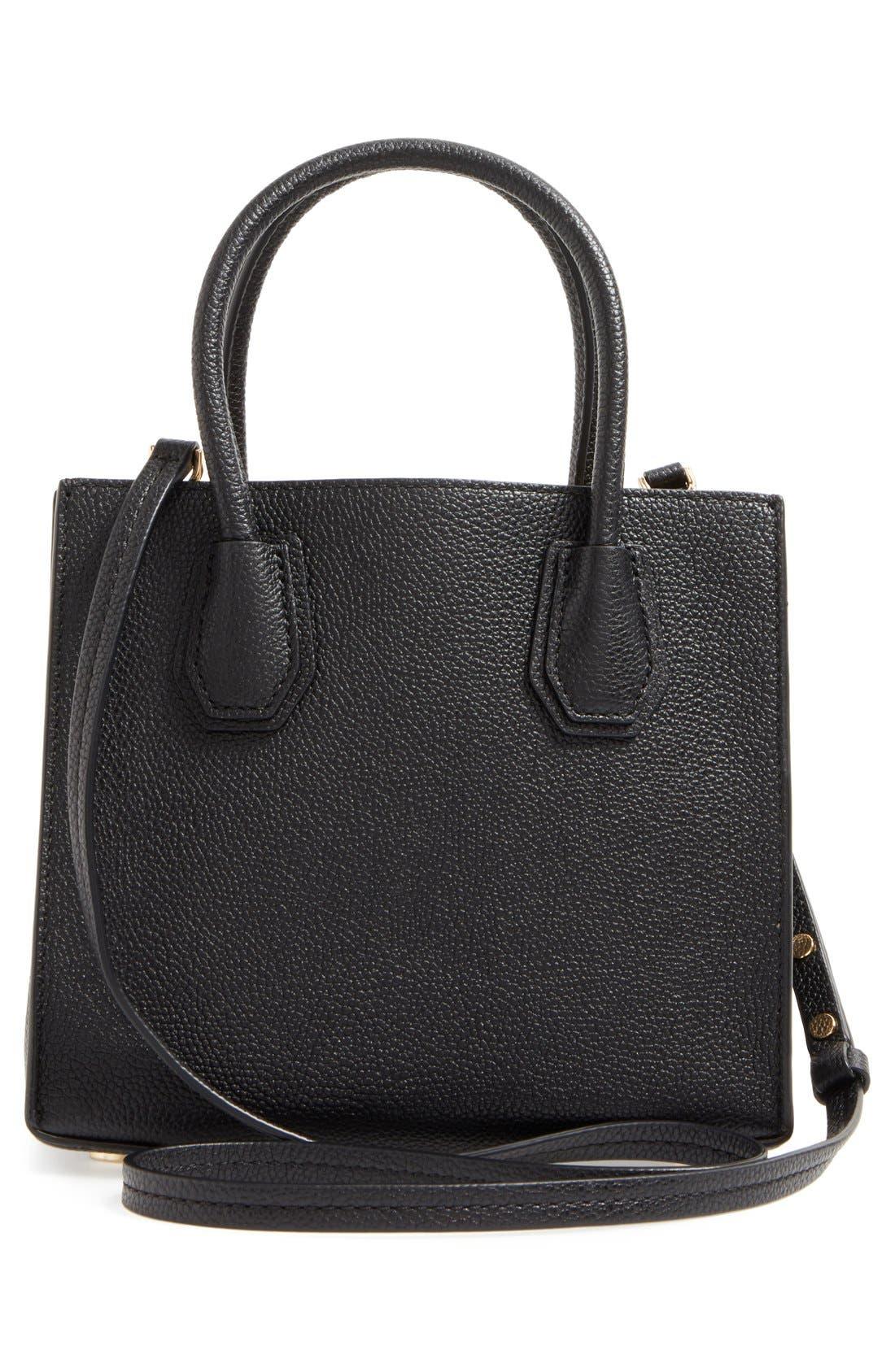 Mercer Leather Crossbody Bag,                             Alternate thumbnail 3, color,                             Black/ Gold